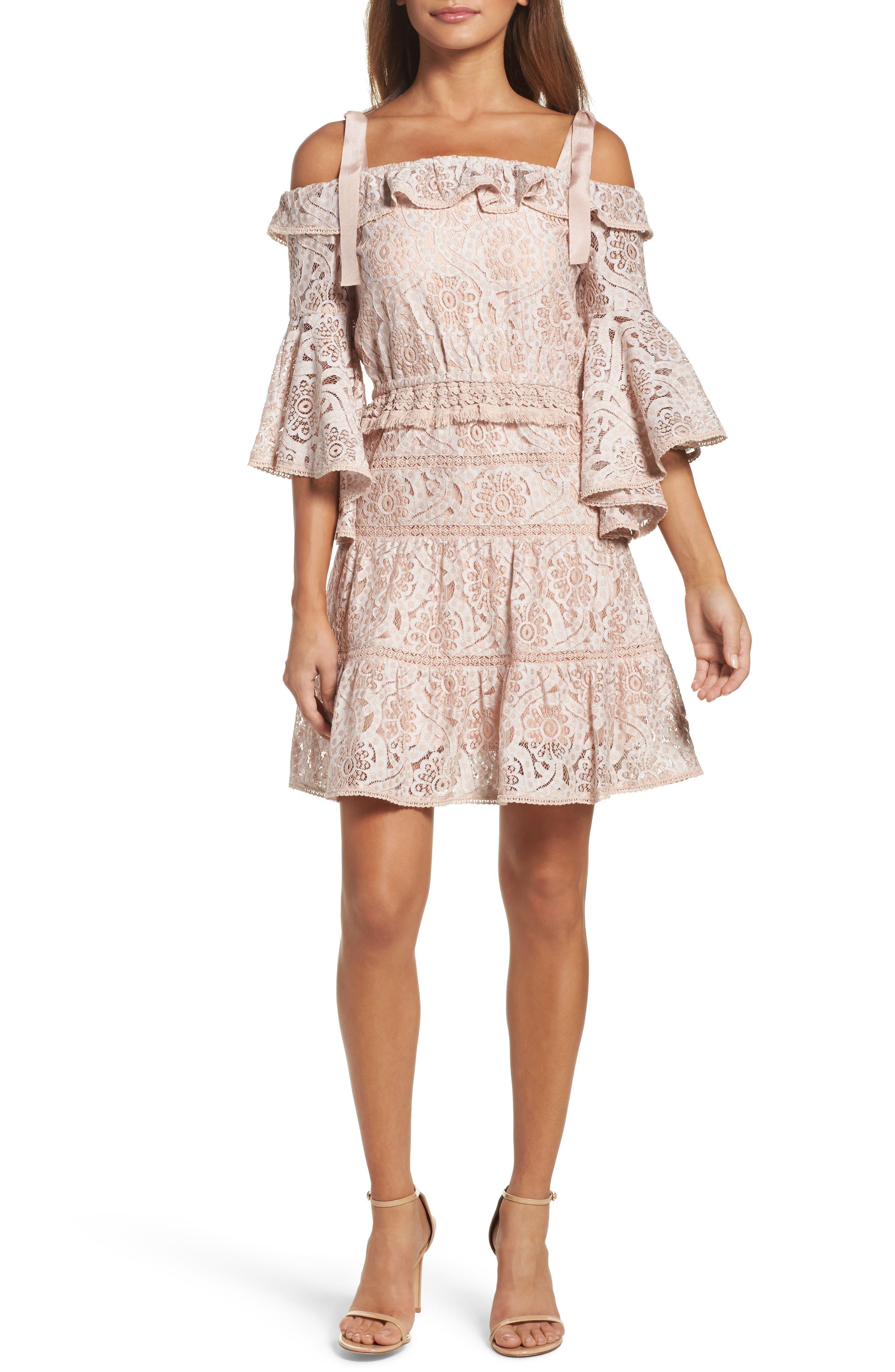 Berry Flared Sleeve Cold Shoulder Dress,                         Main,                         color, Ballet