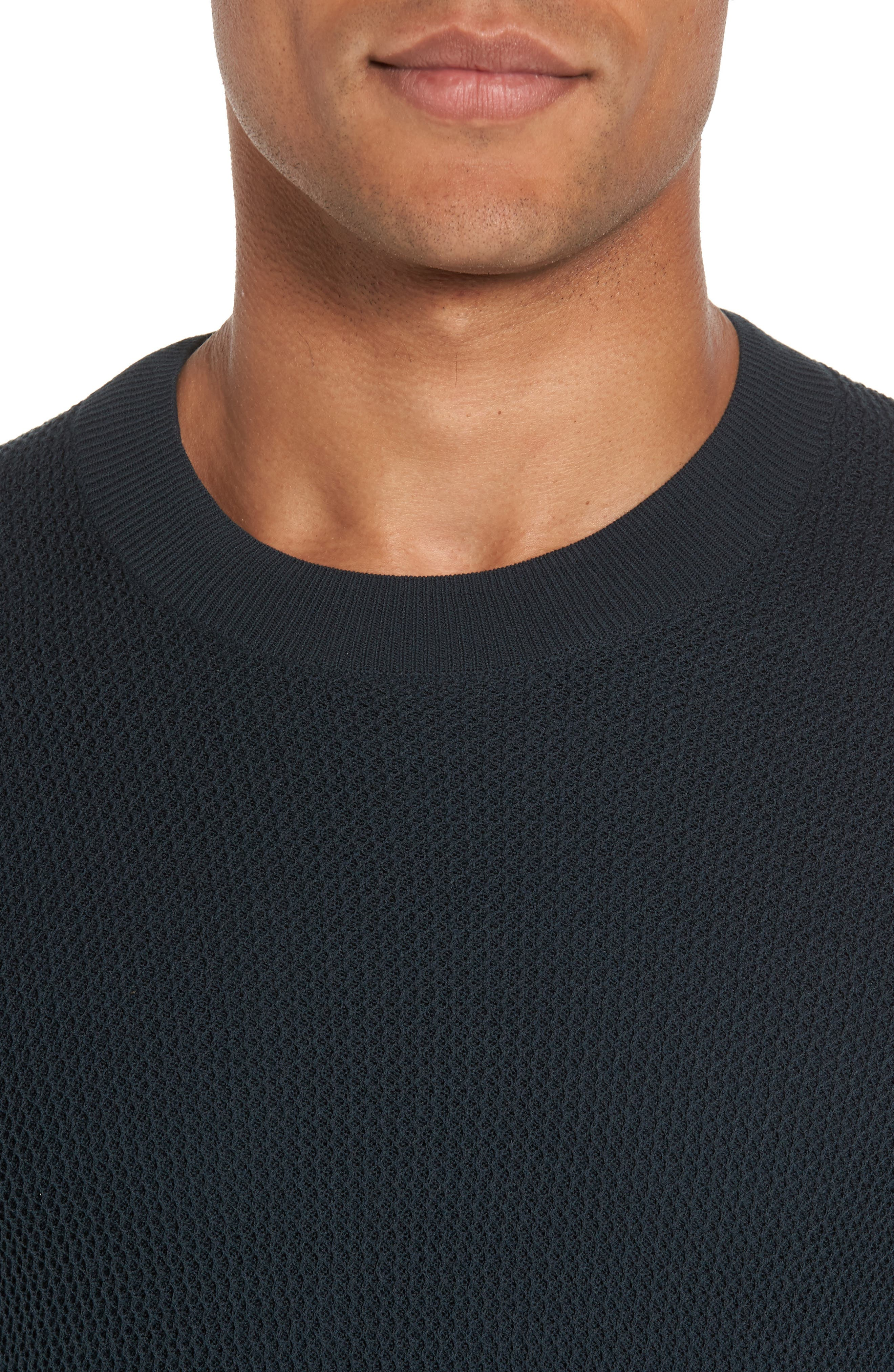 Mesh Crewneck Sweater,                             Alternate thumbnail 4, color,                             Midnight Forest