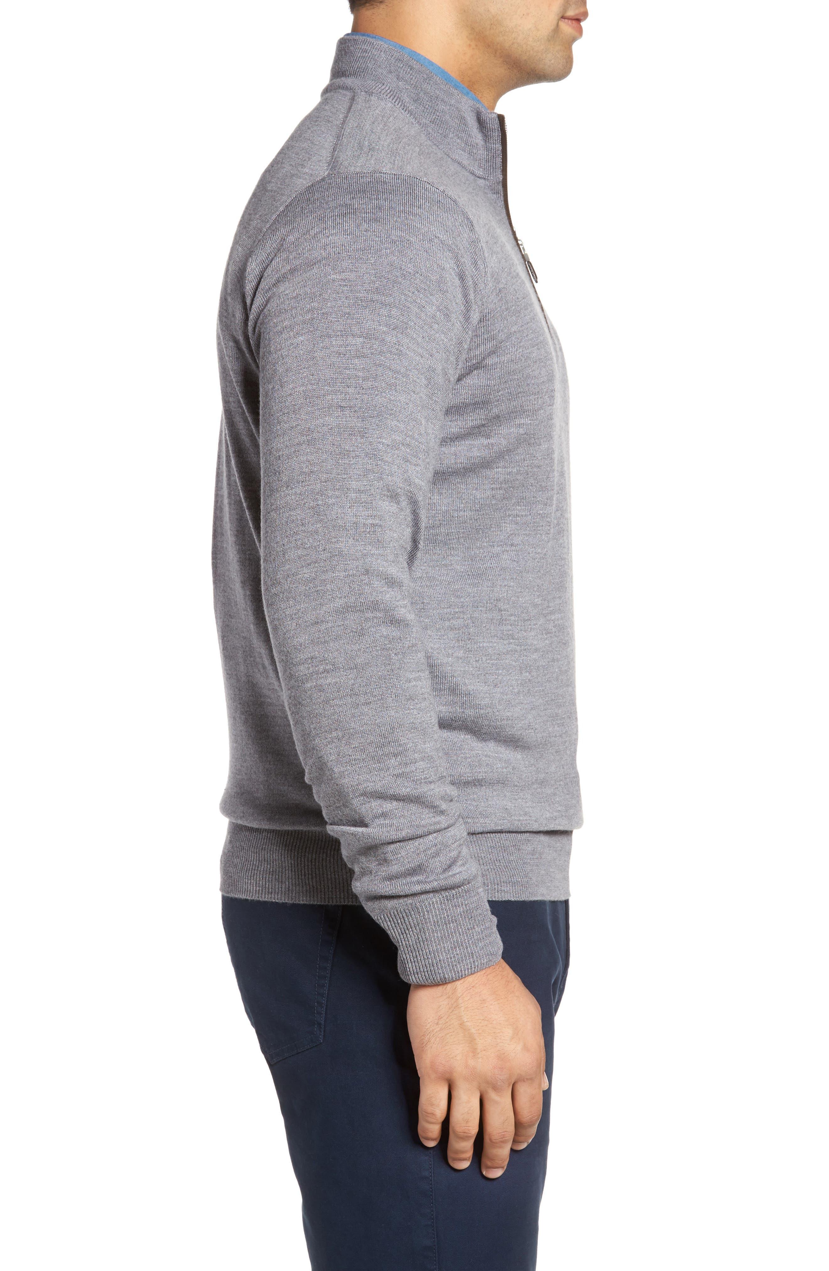 Merino Wool & Silk Quarter Zip Pullover,                             Alternate thumbnail 3, color,                             Flannel