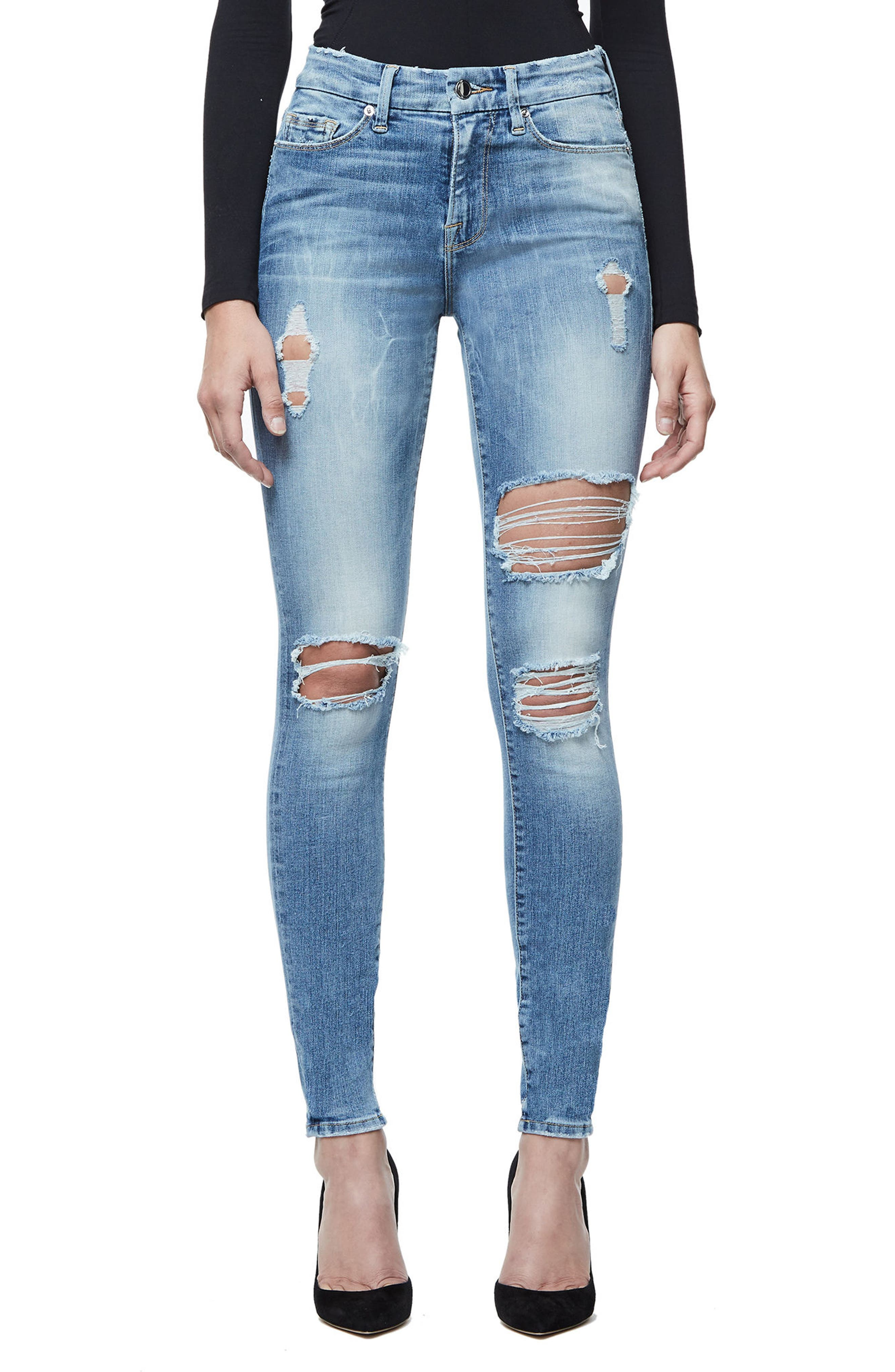 Alternate Image 1 Selected - Good American Good Legs Ripped Skinny Jeans (Blue 068)