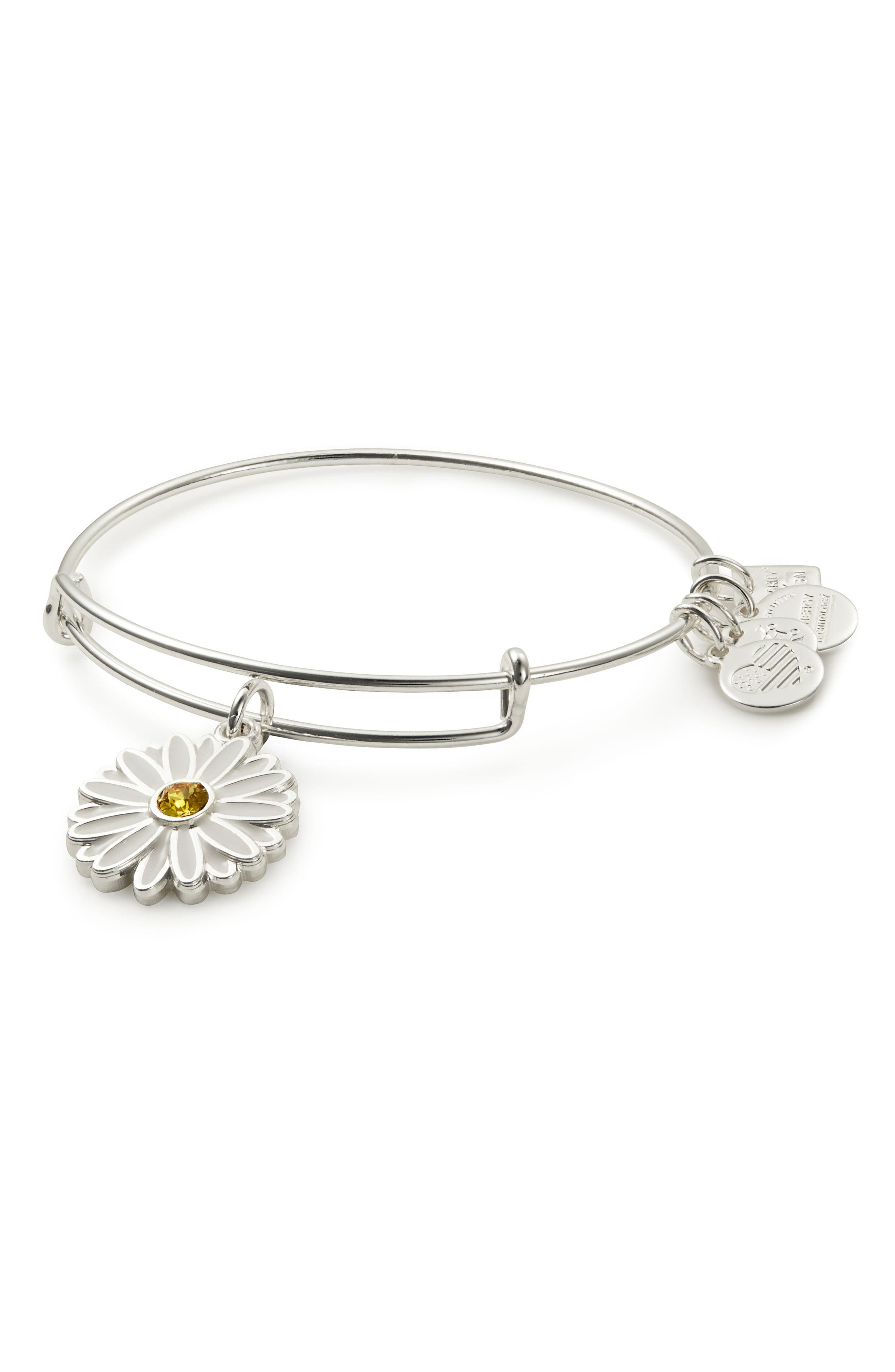 Expandable Daisy Charm Bracleet,                         Main,                         color, Silver