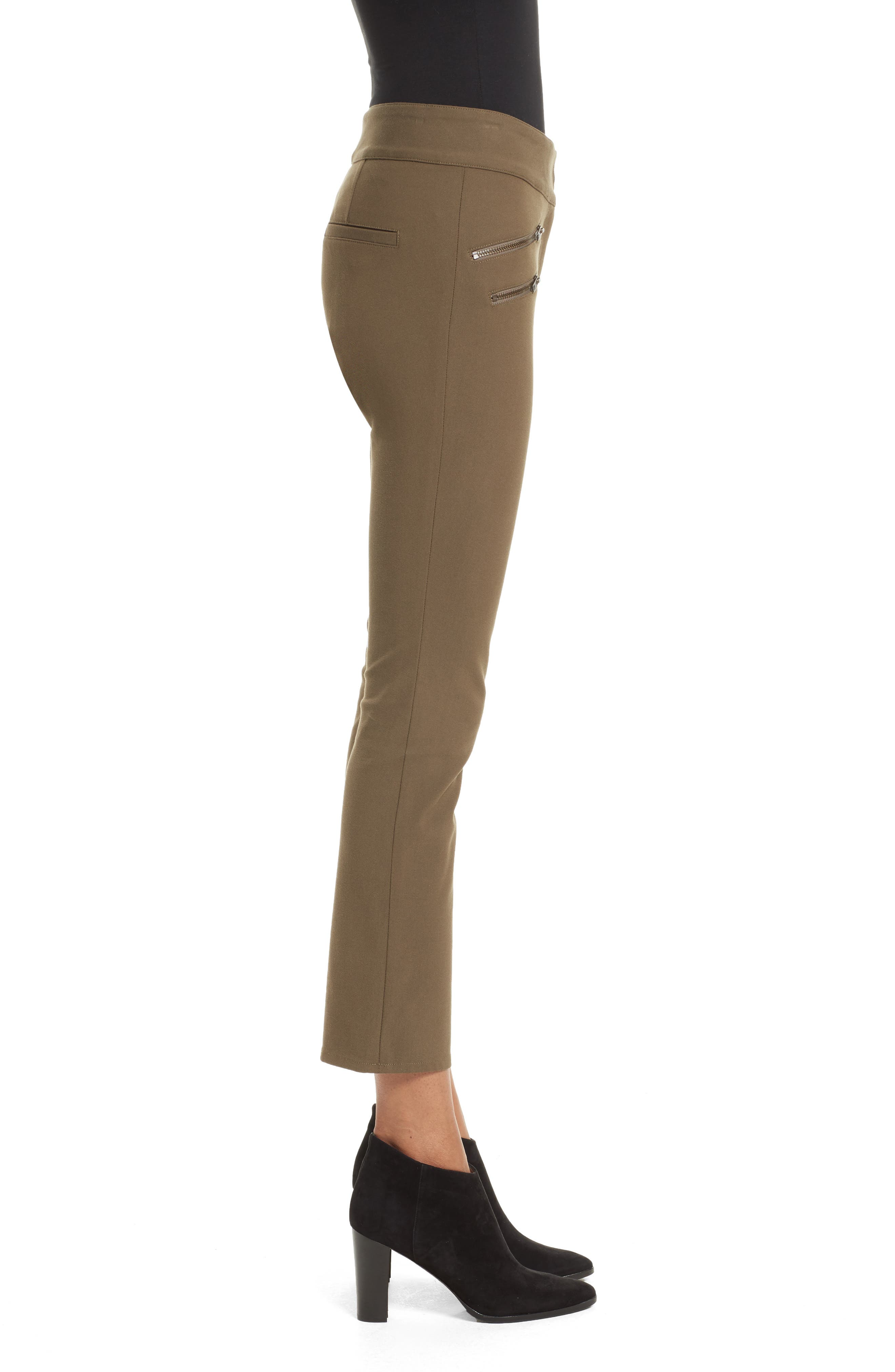 Adelaide Zipper Detail Crop Pants,                             Alternate thumbnail 3, color,                             Army Green