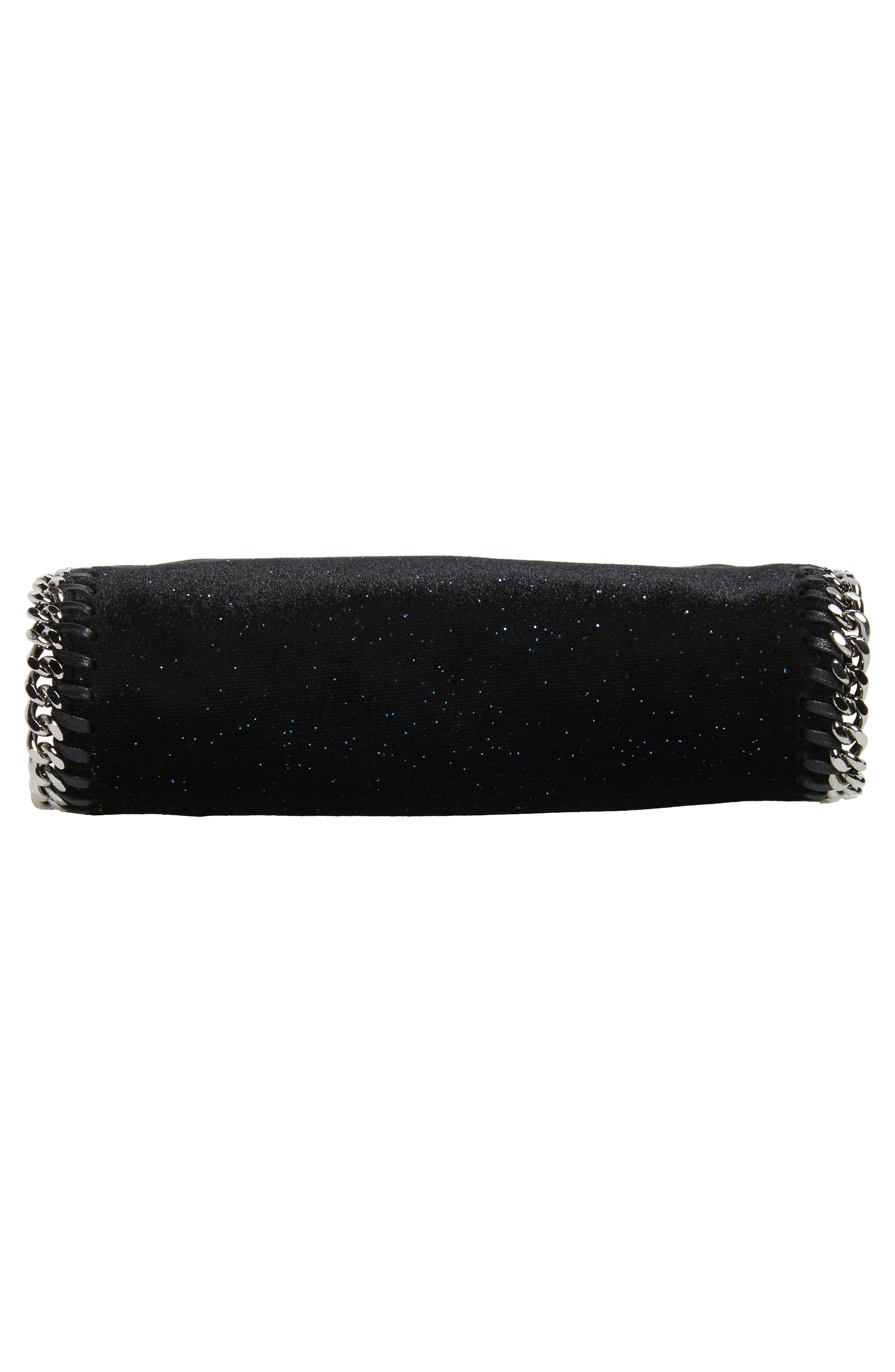 Tiny Falabella Glitter Crossbody Bag,                             Alternate thumbnail 5, color,                             Black/ Navy