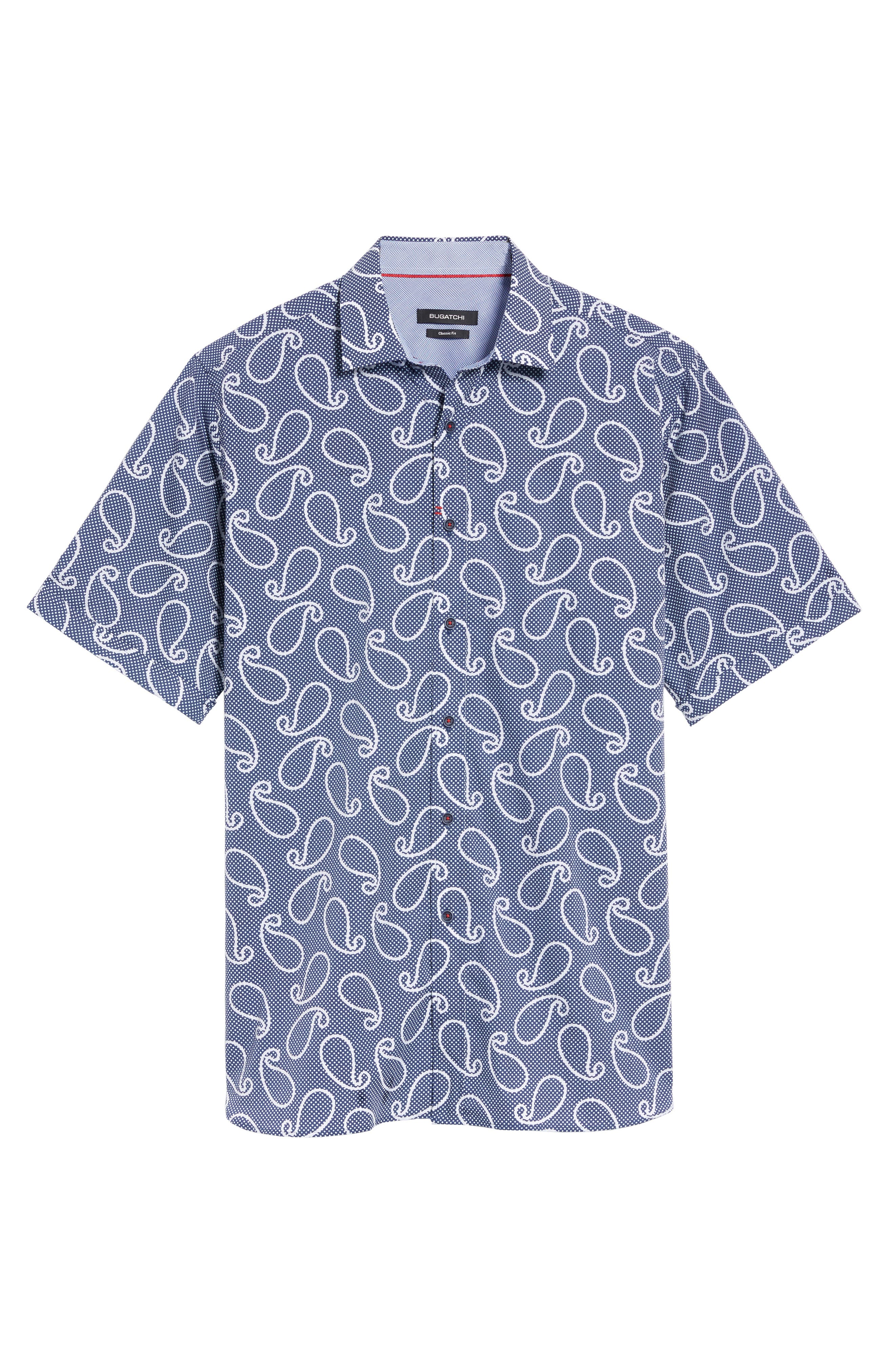 Classic Fit Print Short Sleeve Sport Shirt,                             Alternate thumbnail 6, color,                             Navy