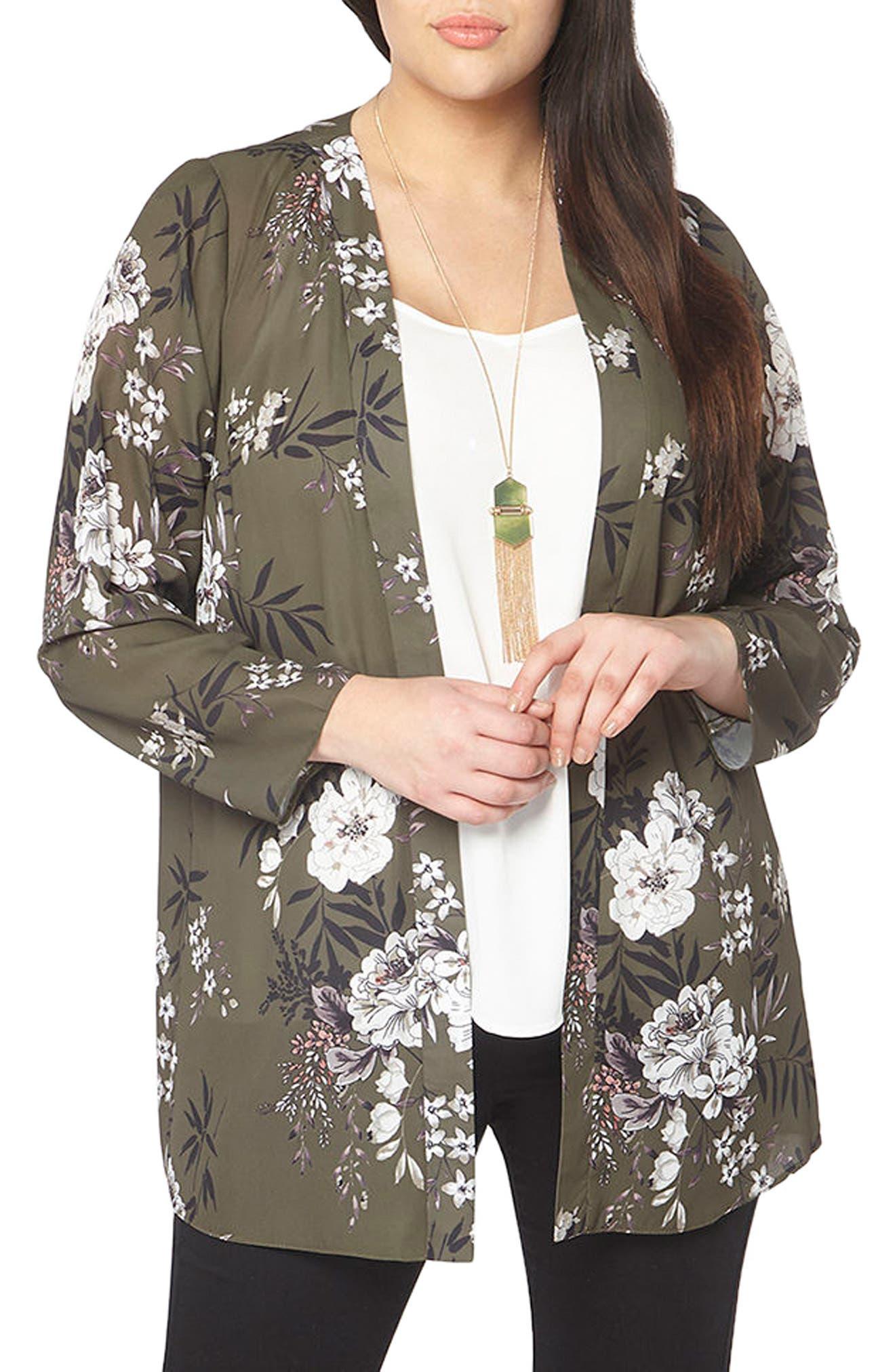 Floral Print Kimono,                             Alternate thumbnail 3, color,                             Dark Multi