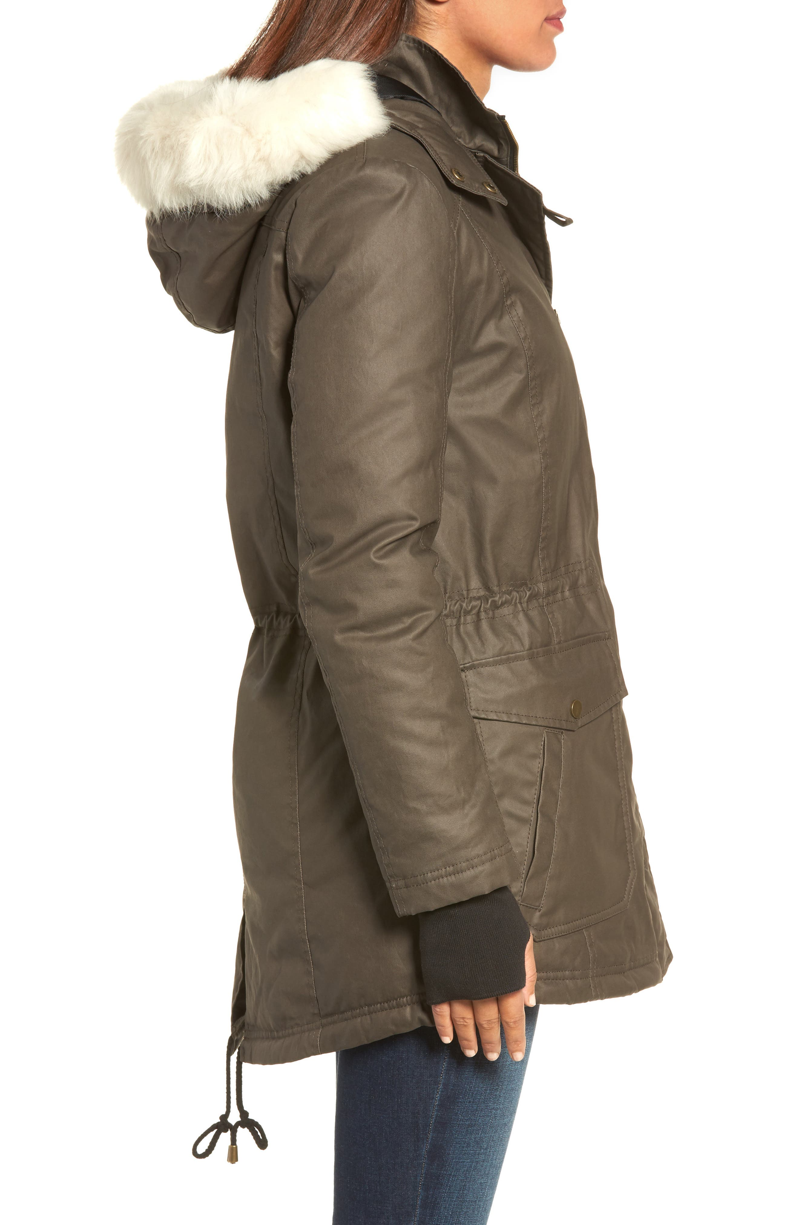 Genuine Shearling Trim Wax Coated Parka,                             Alternate thumbnail 3, color,                             Dark Olive