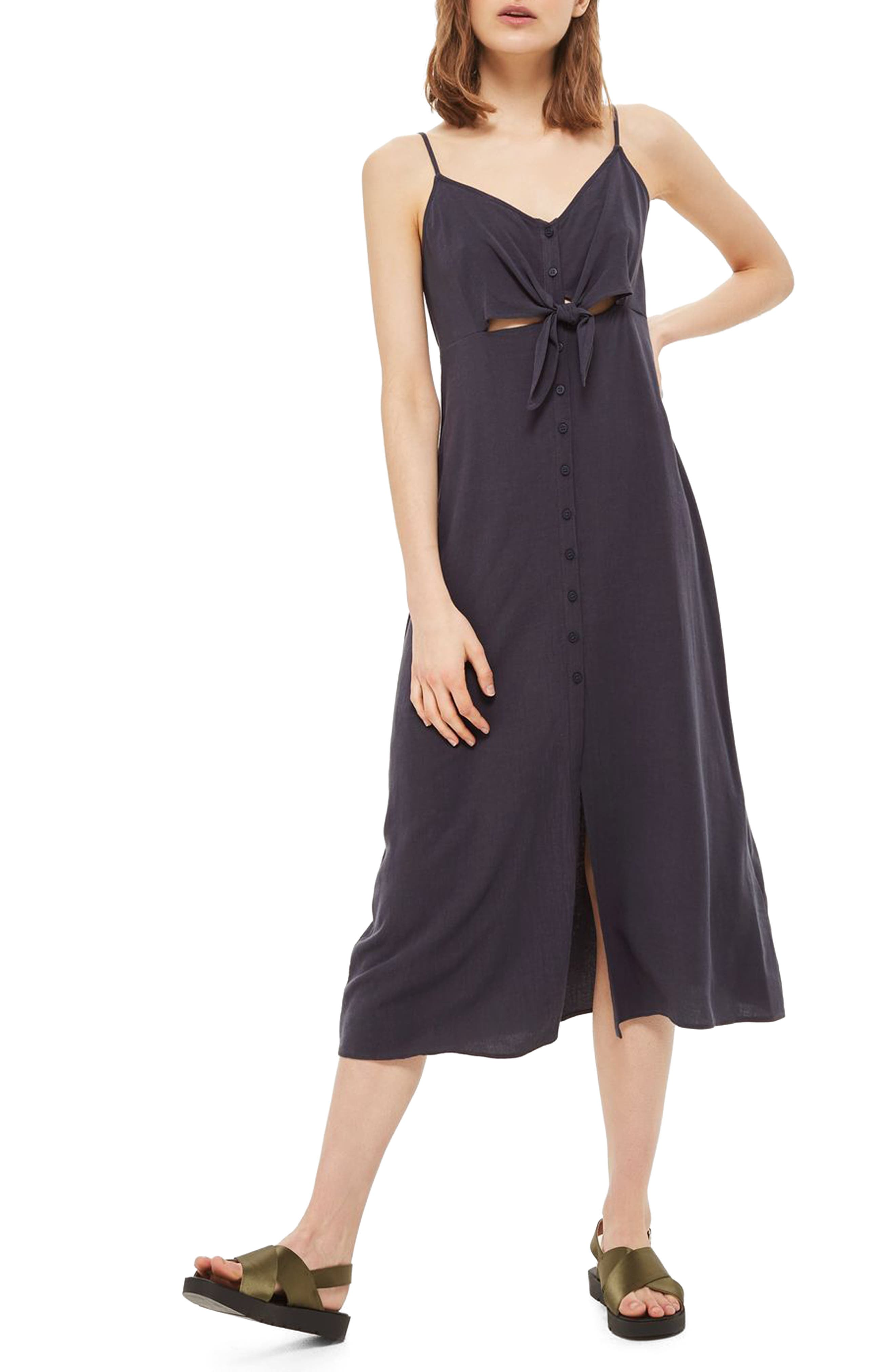 Knot Front Slipdress,                             Main thumbnail 1, color,                             Washed Black