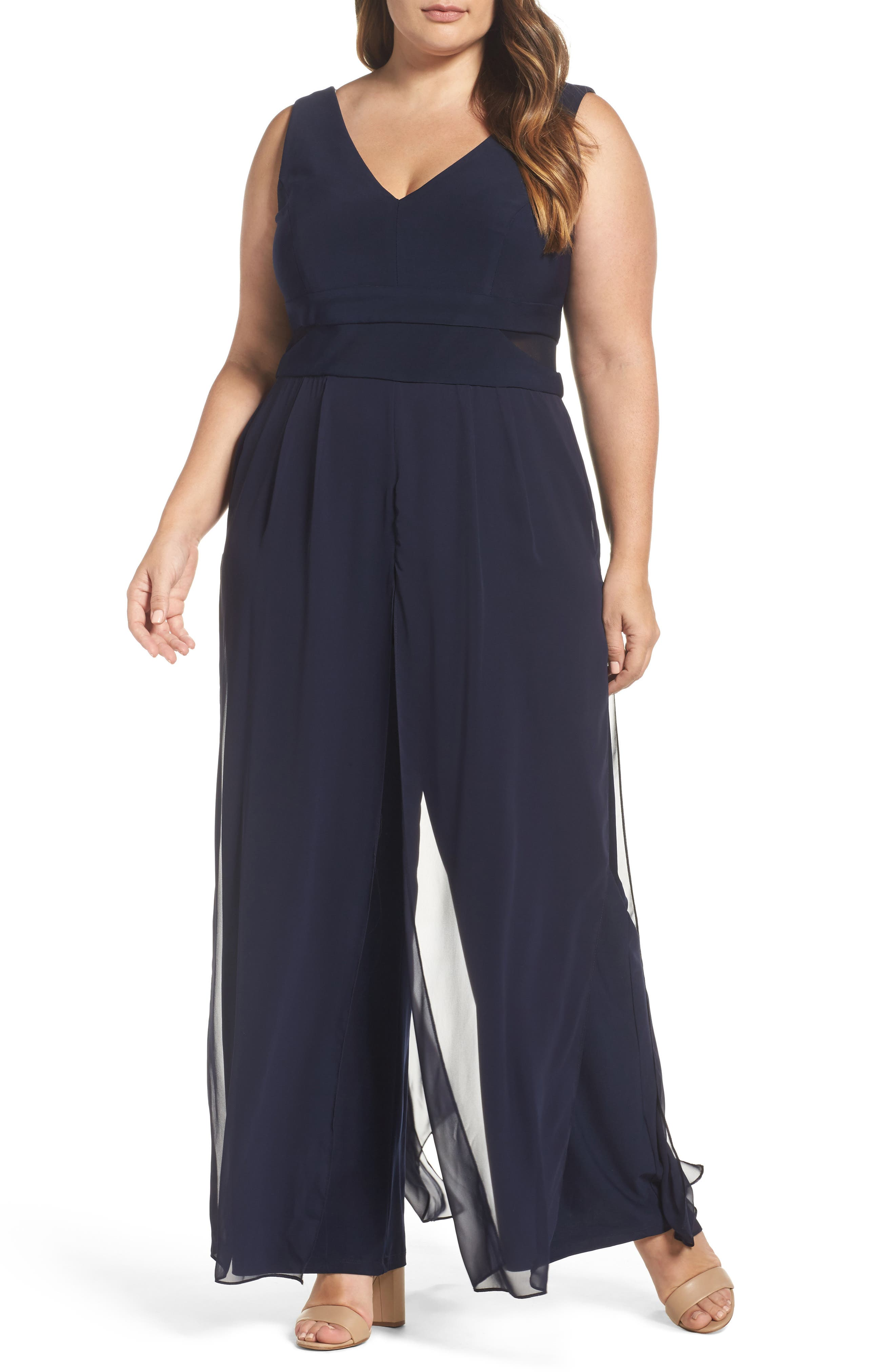 Xscape Chiffon Panel Jumpsuit (Plus Size)