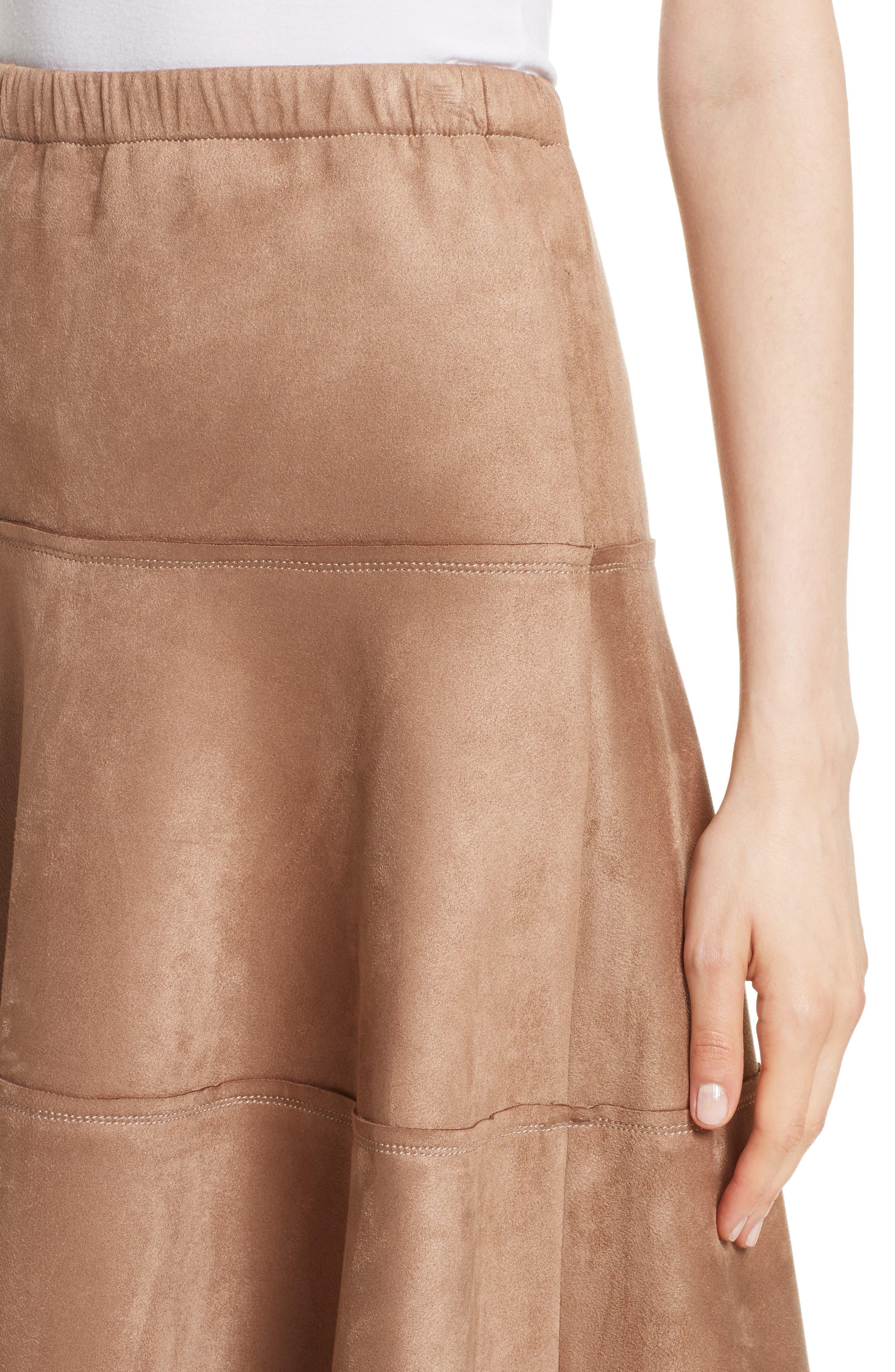 Metallic Midi Skirt,                             Alternate thumbnail 4, color,                             Dark Sand