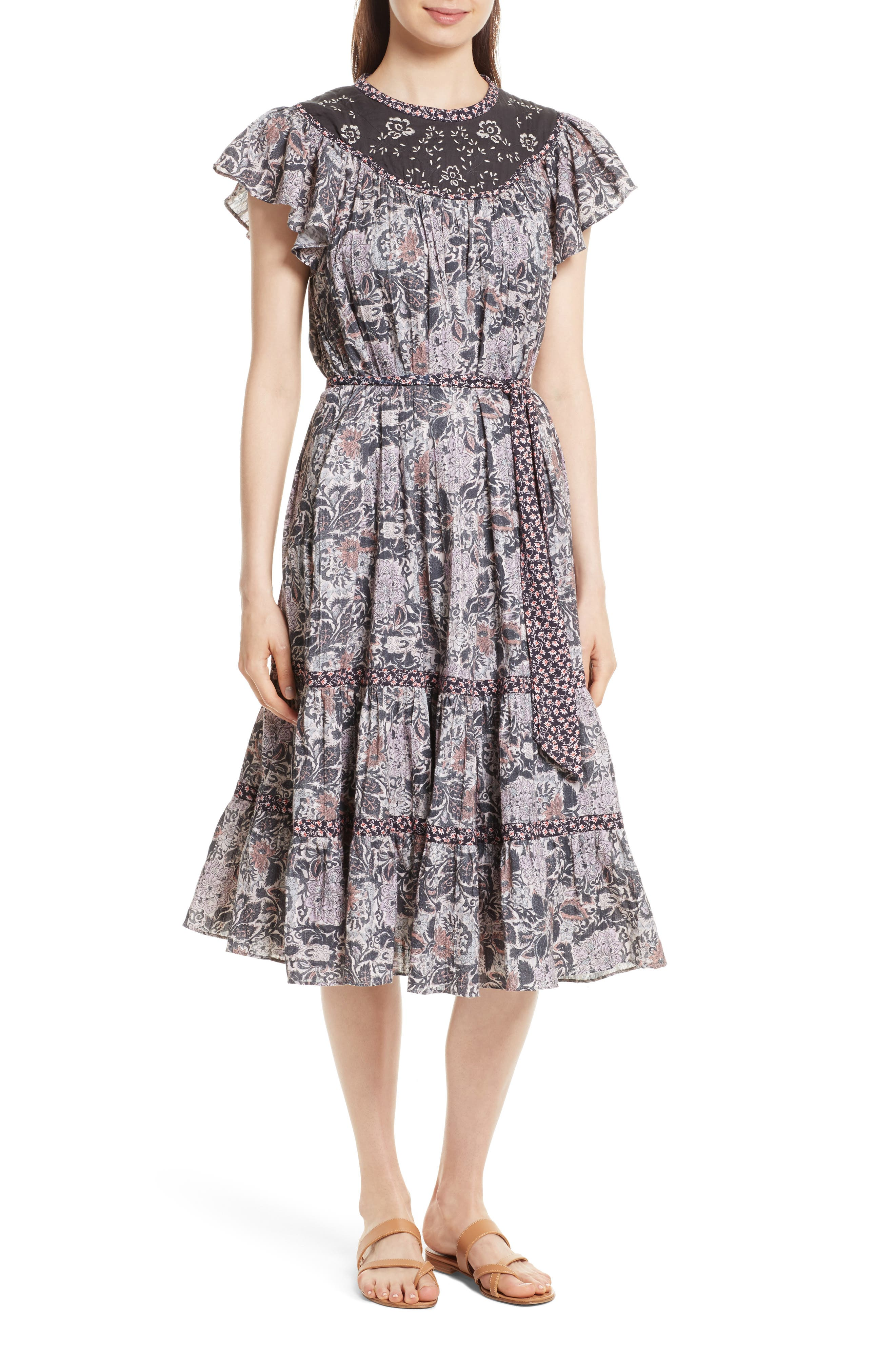 Indochine Embroidered Floral Dress,                         Main,                         color, Washed Black Combo