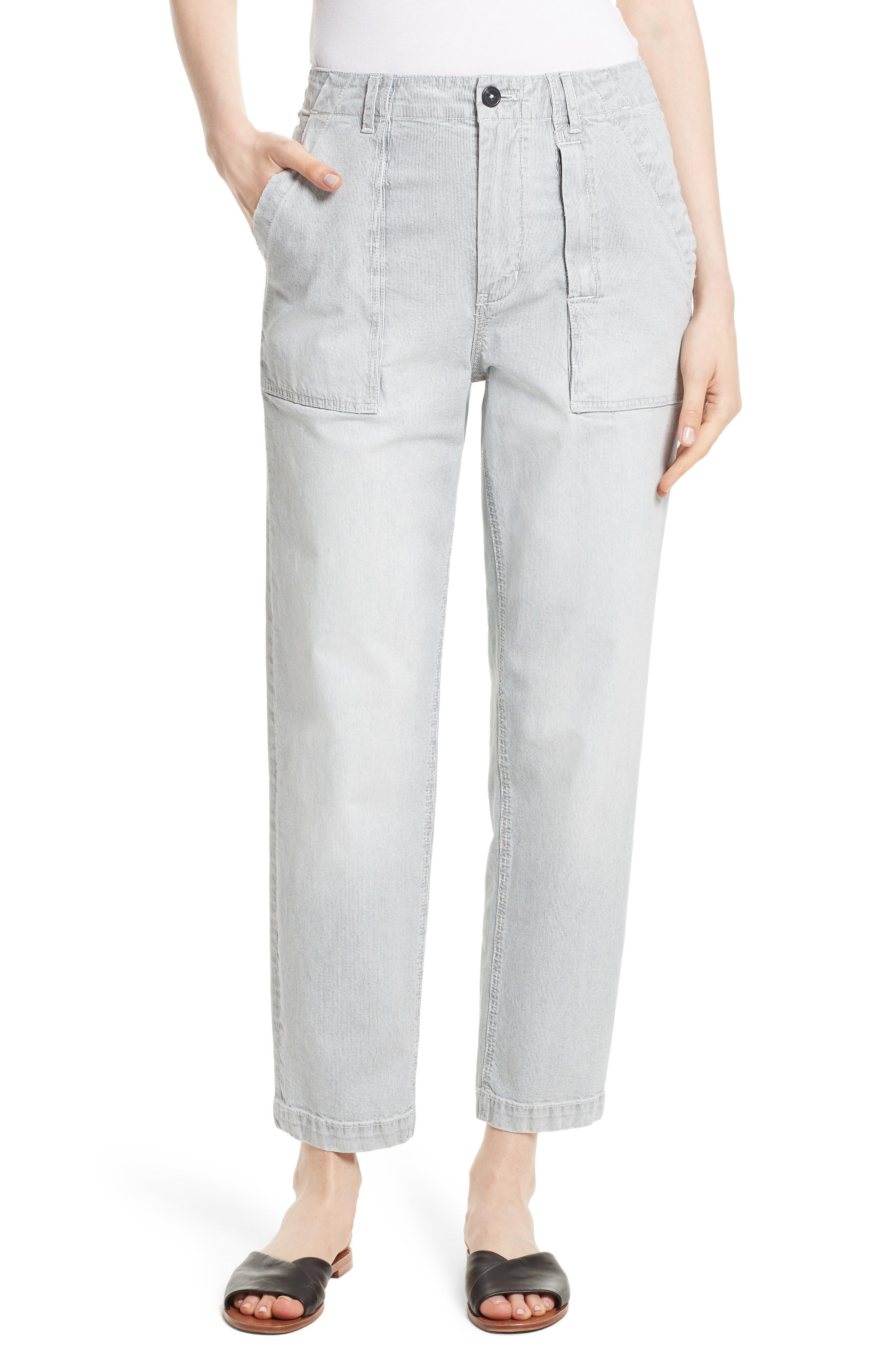 Stripe Ankle Pants,                         Main,                         color, Indigo Combo