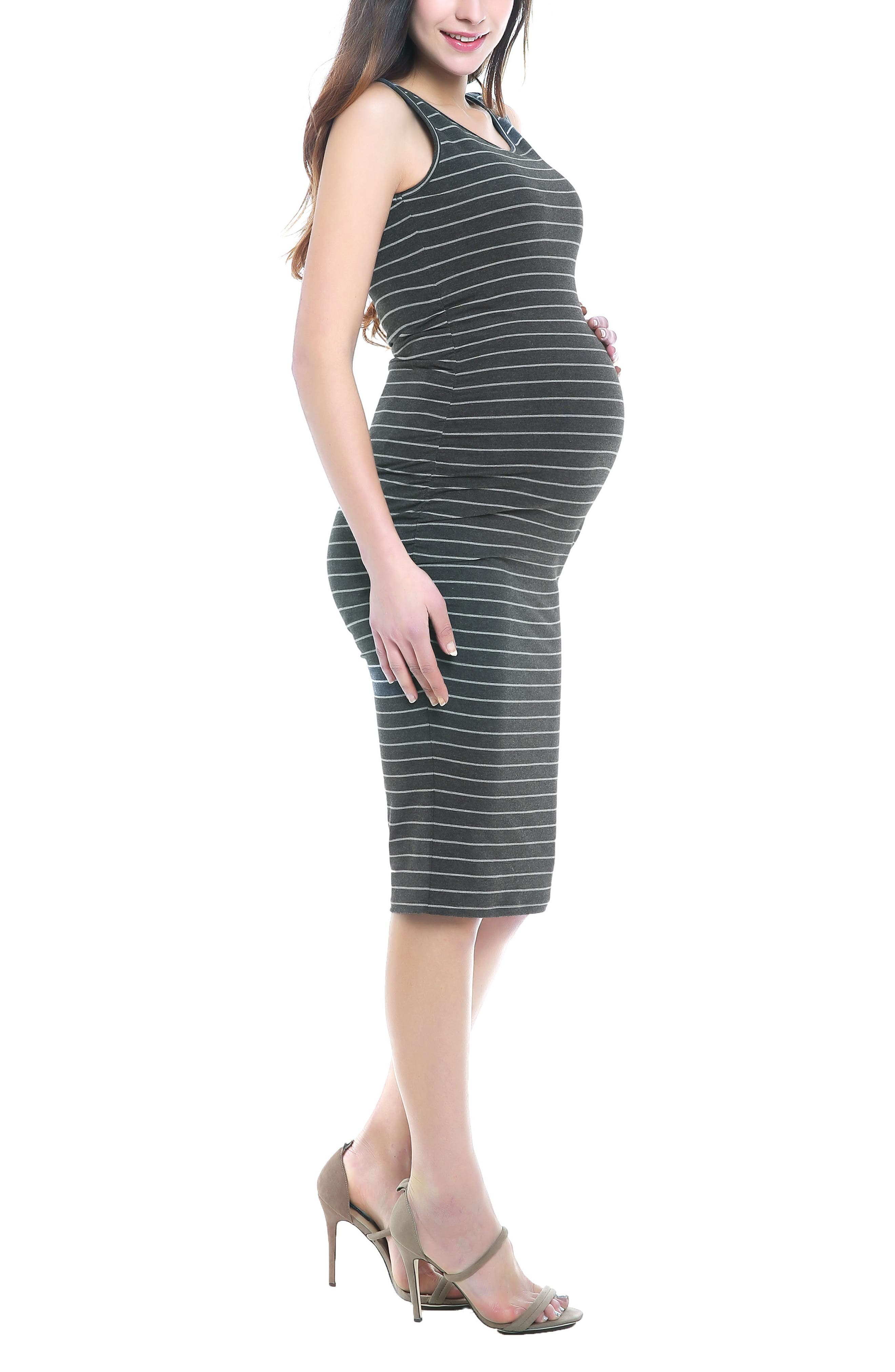 Tobi Stripe Maternity Dress,                             Alternate thumbnail 4, color,                             Dark Gray/ Light Gray