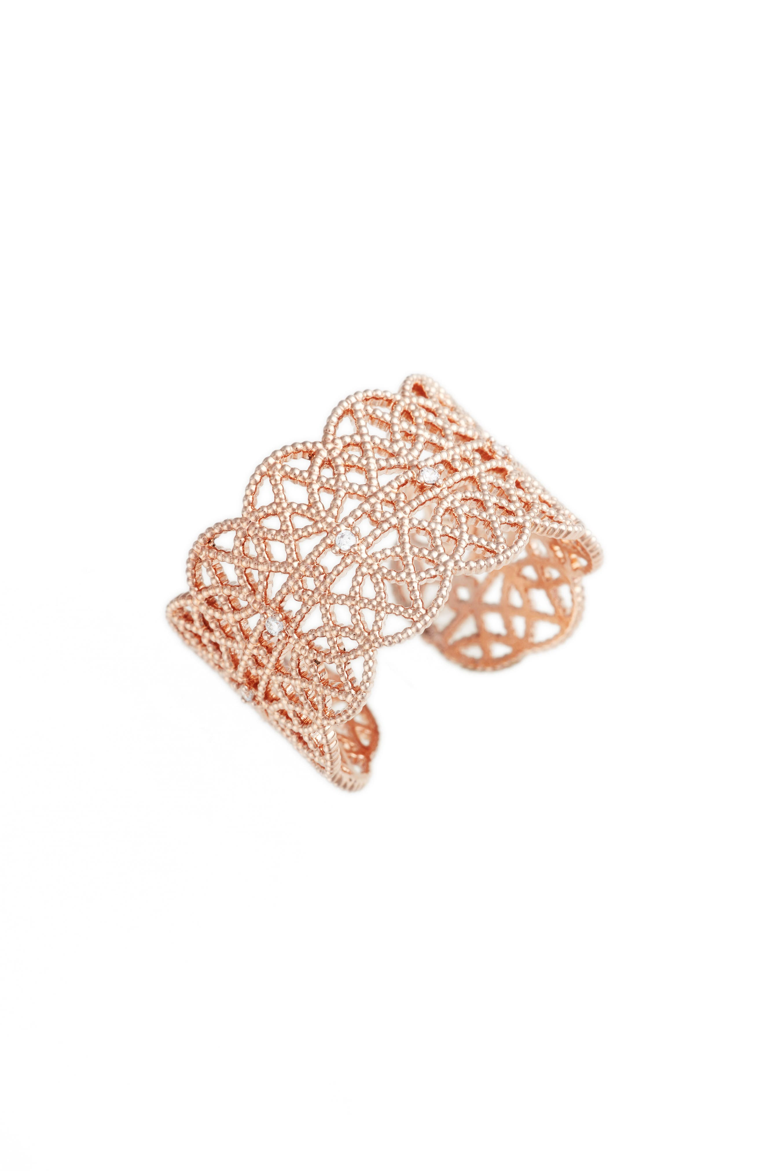 Main Image - Jules Smith Pavé Lace Cuff Ring