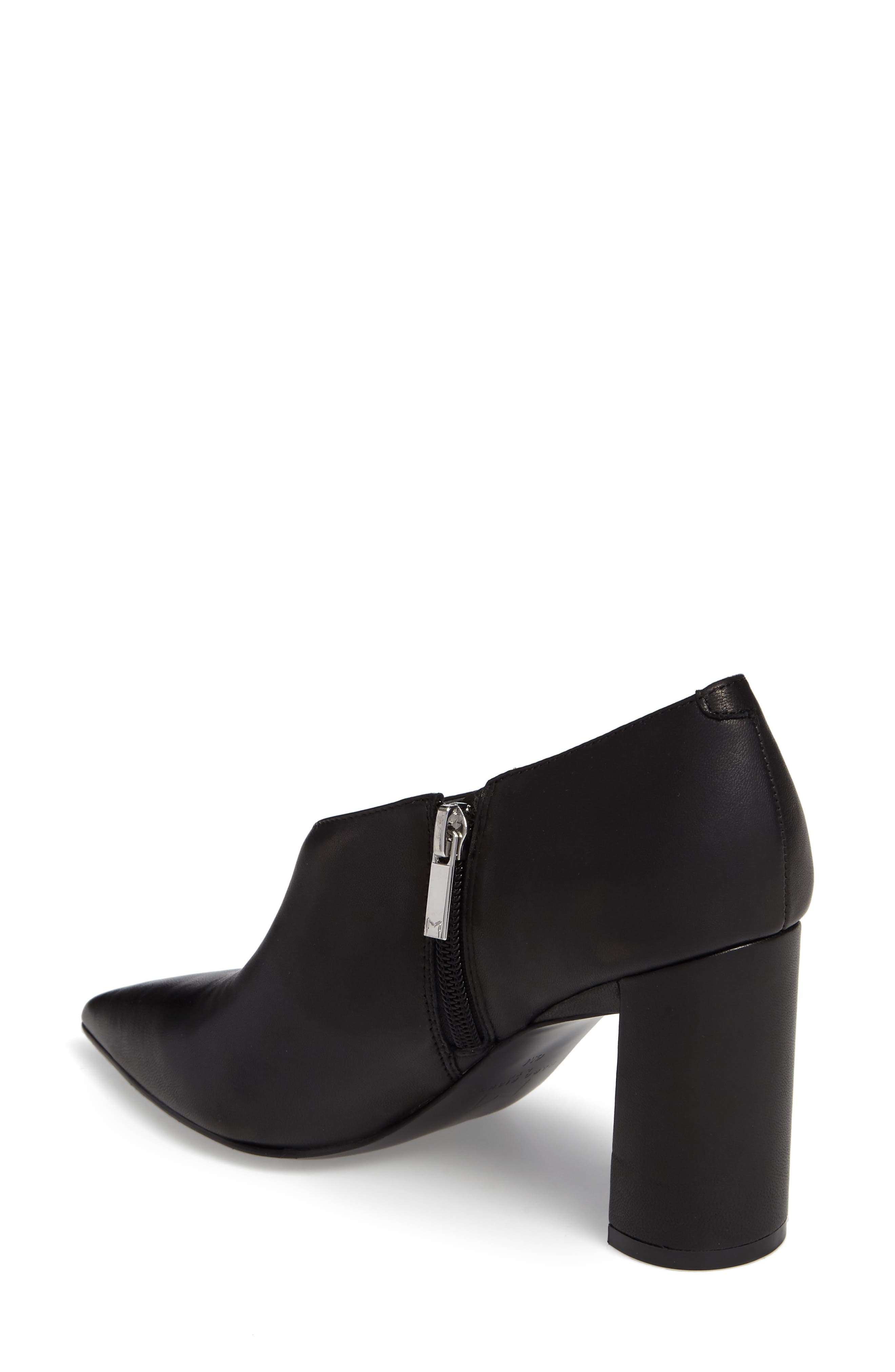 Hoda Pointy Toe Bootie,                             Alternate thumbnail 2, color,                             Black Leather