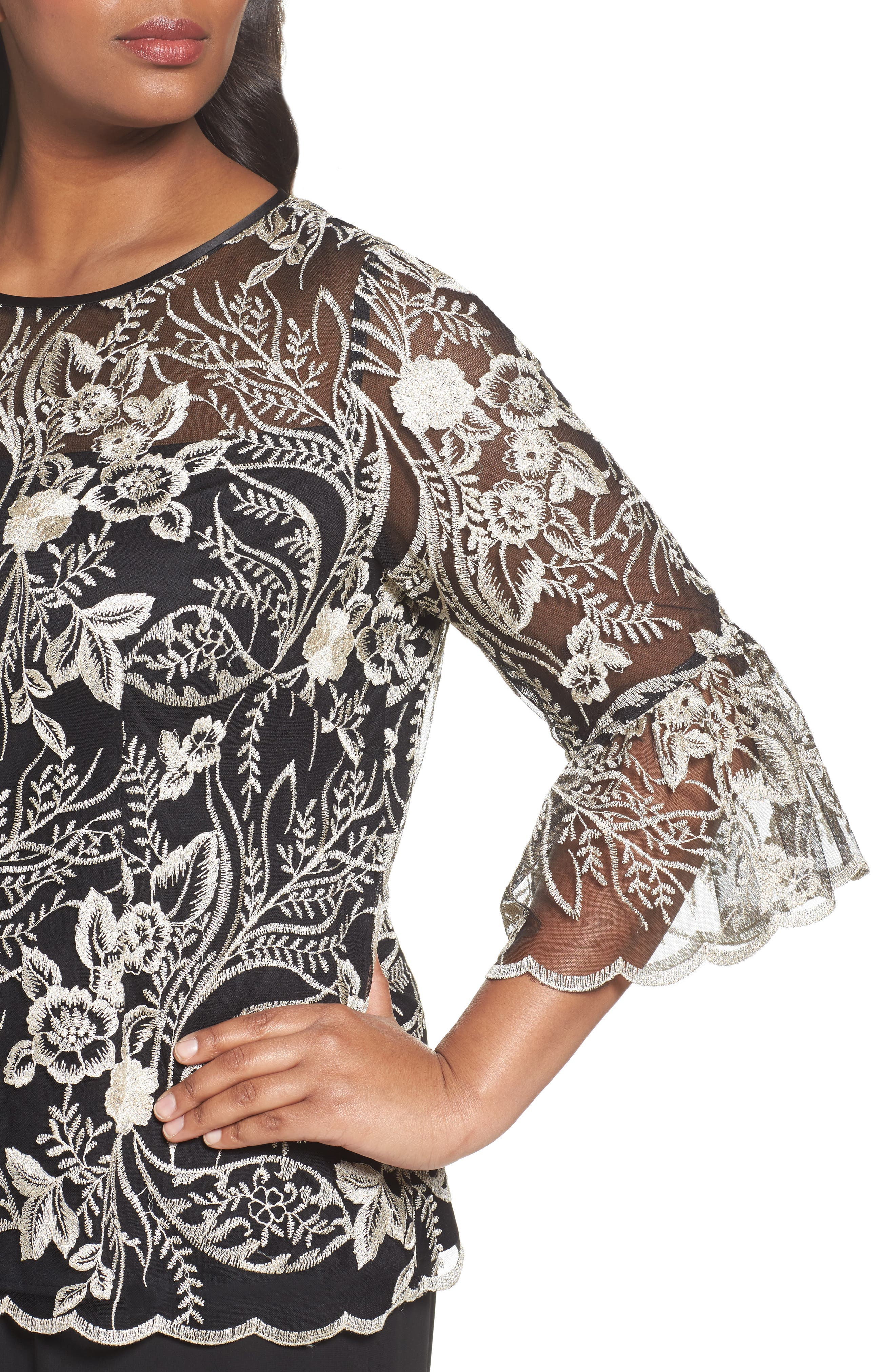 Embroidered Bell Sleeve Blouse,                             Alternate thumbnail 4, color,                             Black/ Champagne