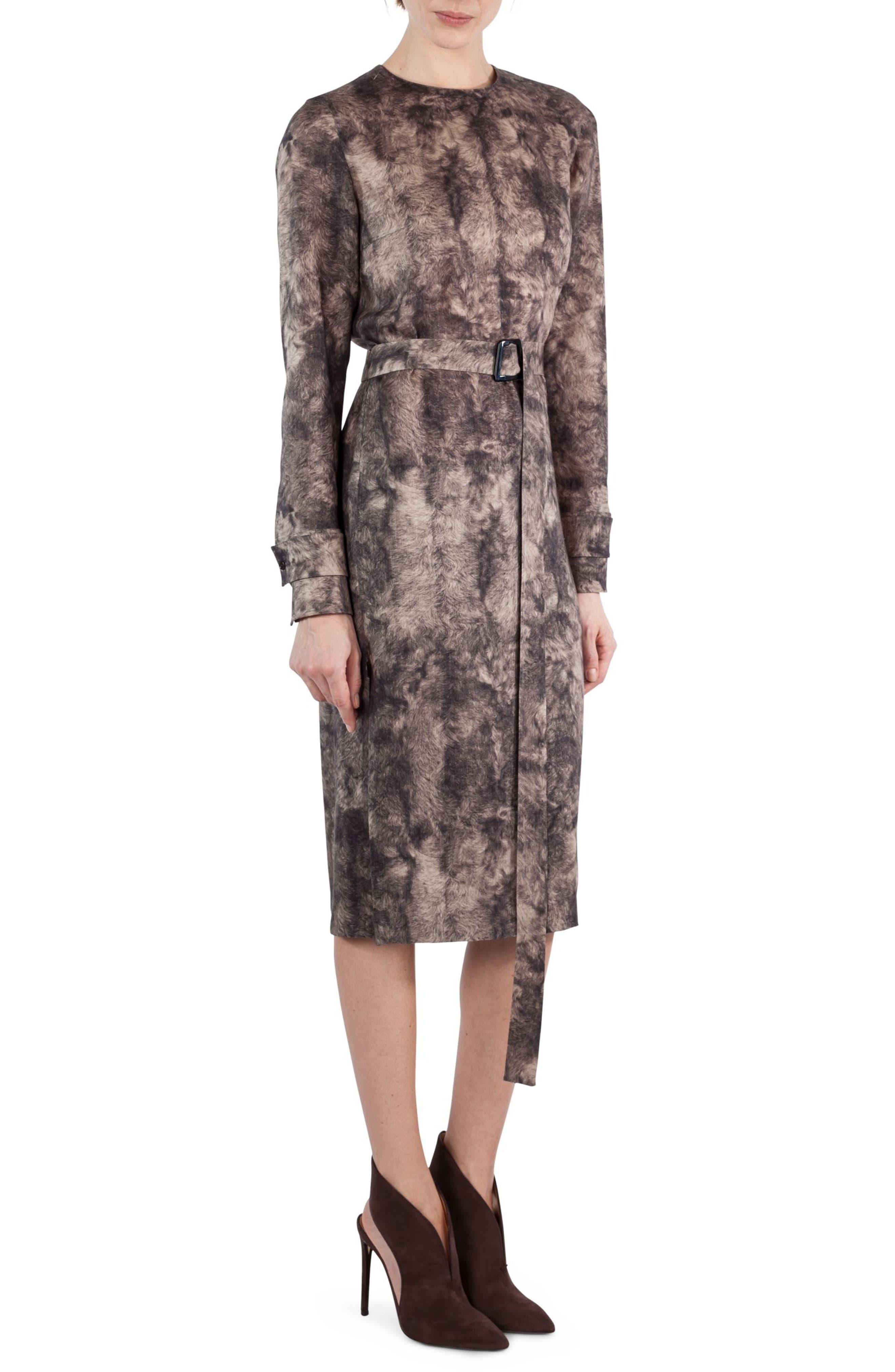 Print Wool Dress,                         Main,                         color, Taupe-Sepia