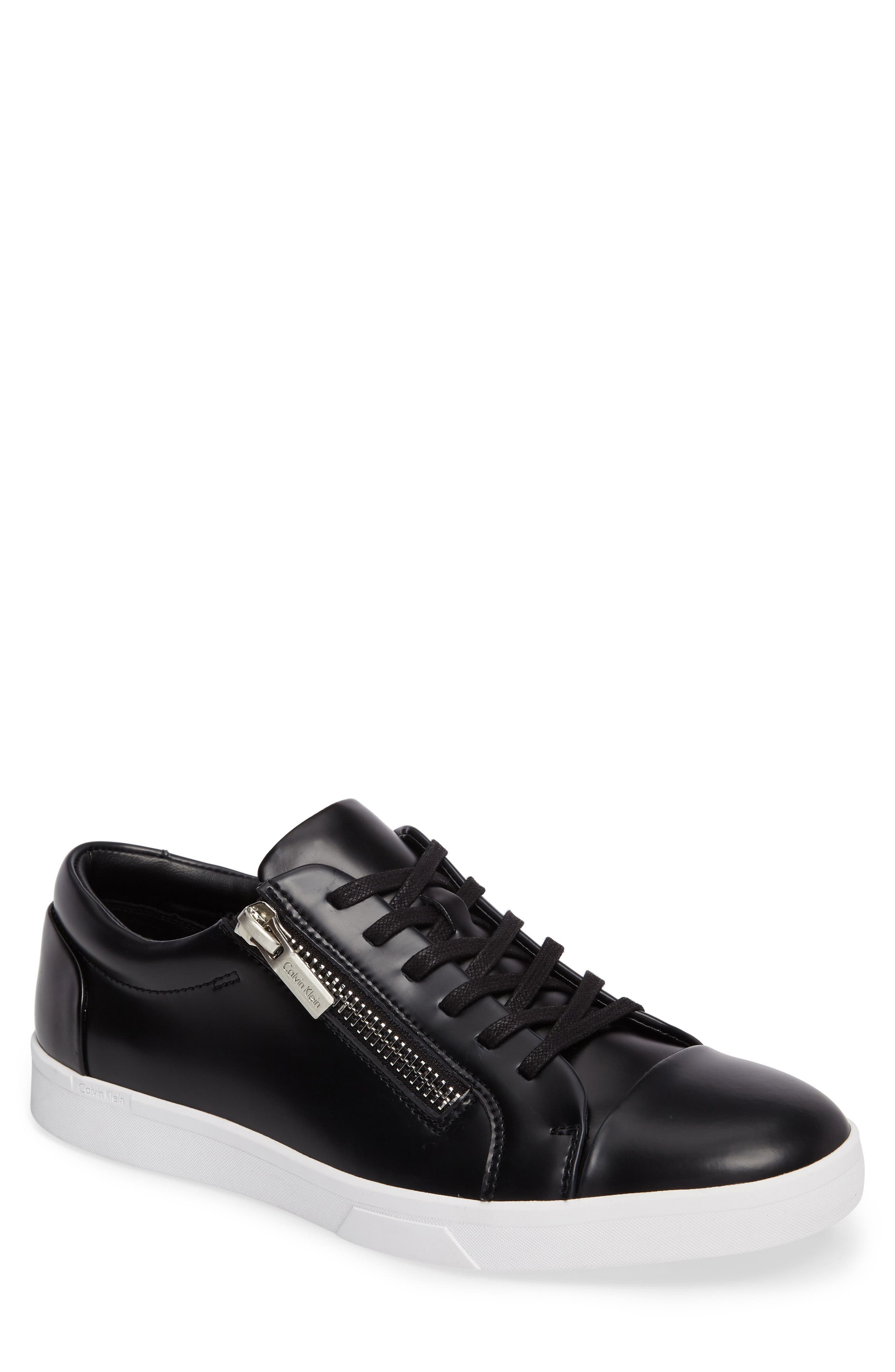 Ibrahim Cap-Toe Zip Sneaker,                             Main thumbnail 1, color,                             Black Leather