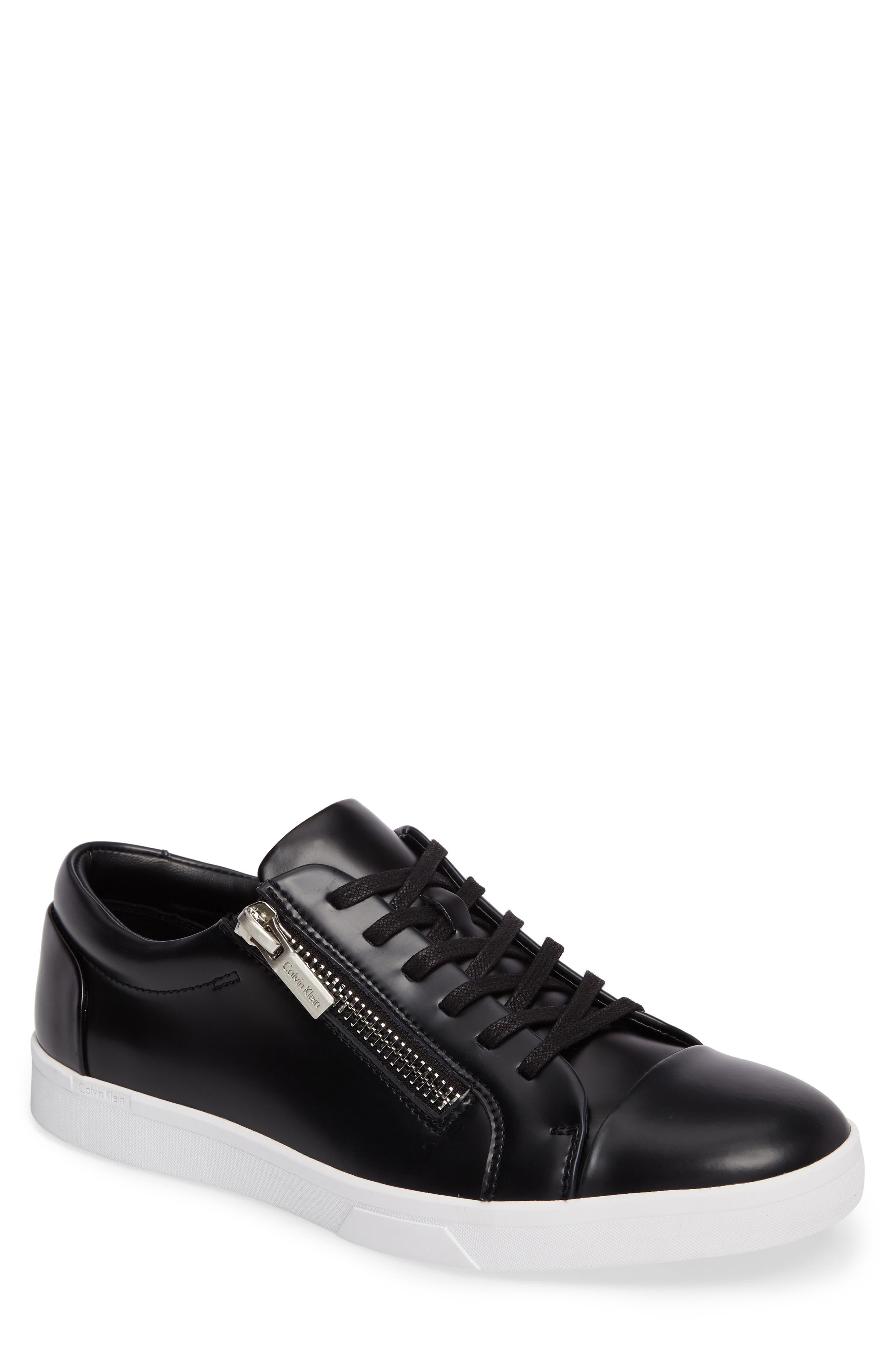 Ibrahim Cap-Toe Zip Sneaker,                         Main,                         color, Black Leather