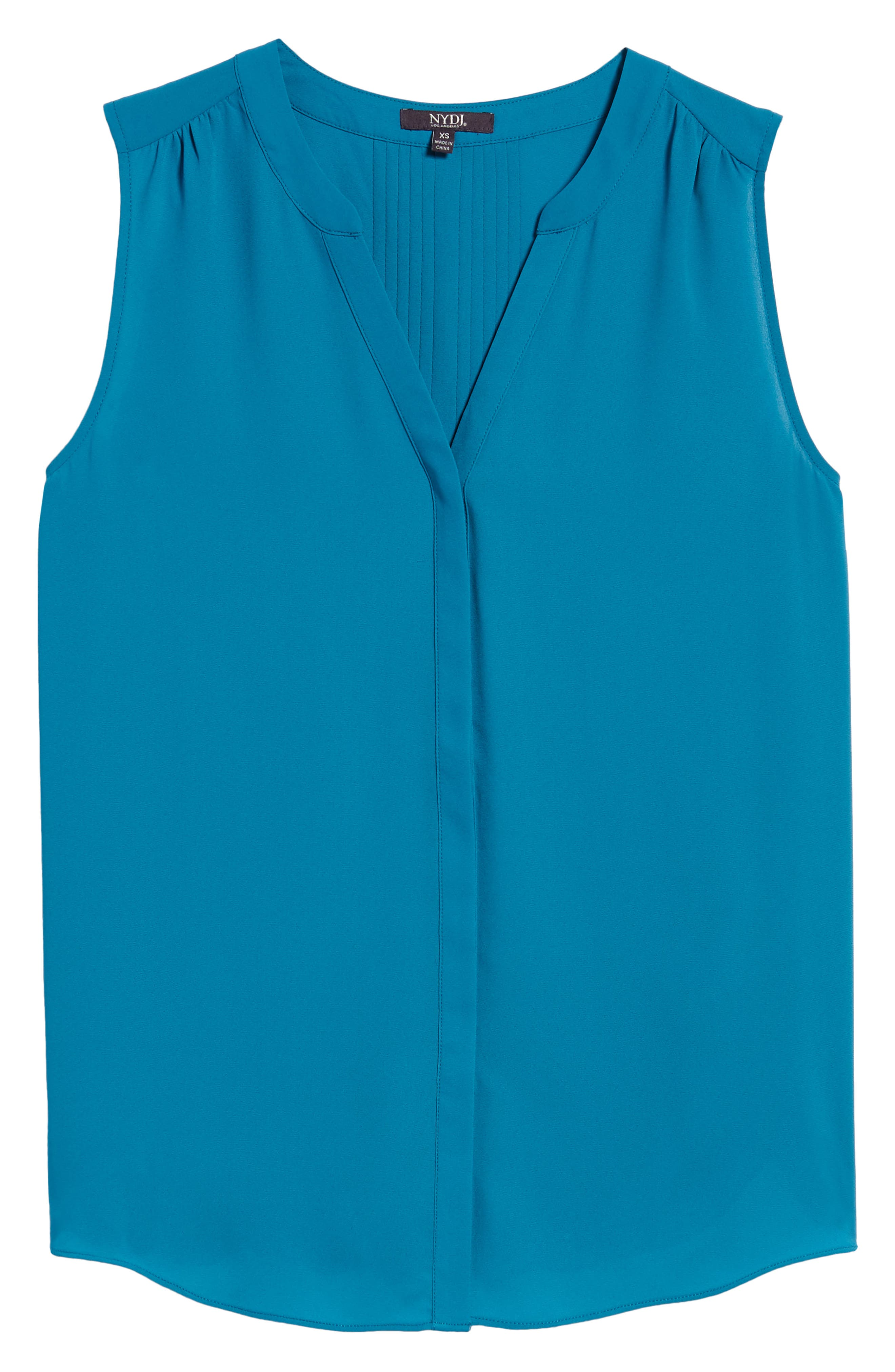 NYDJ Print Pleat Back Sleeveless Split Neck Blouse (Regular & Petite) (Nordstrom Exclusive)