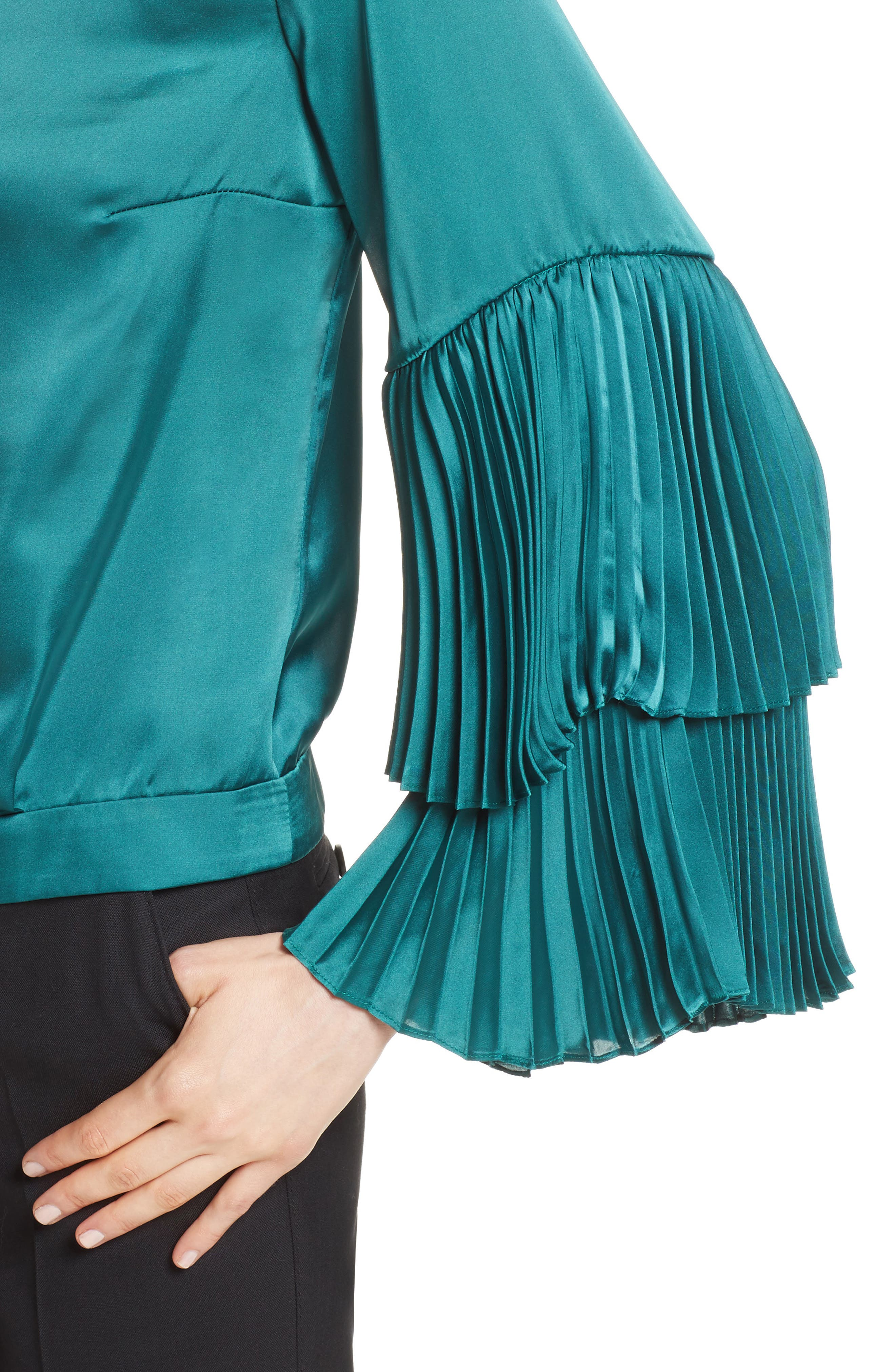 Pleated Bell Sleeve Boxy Blouse,                             Alternate thumbnail 4, color,                             Holly