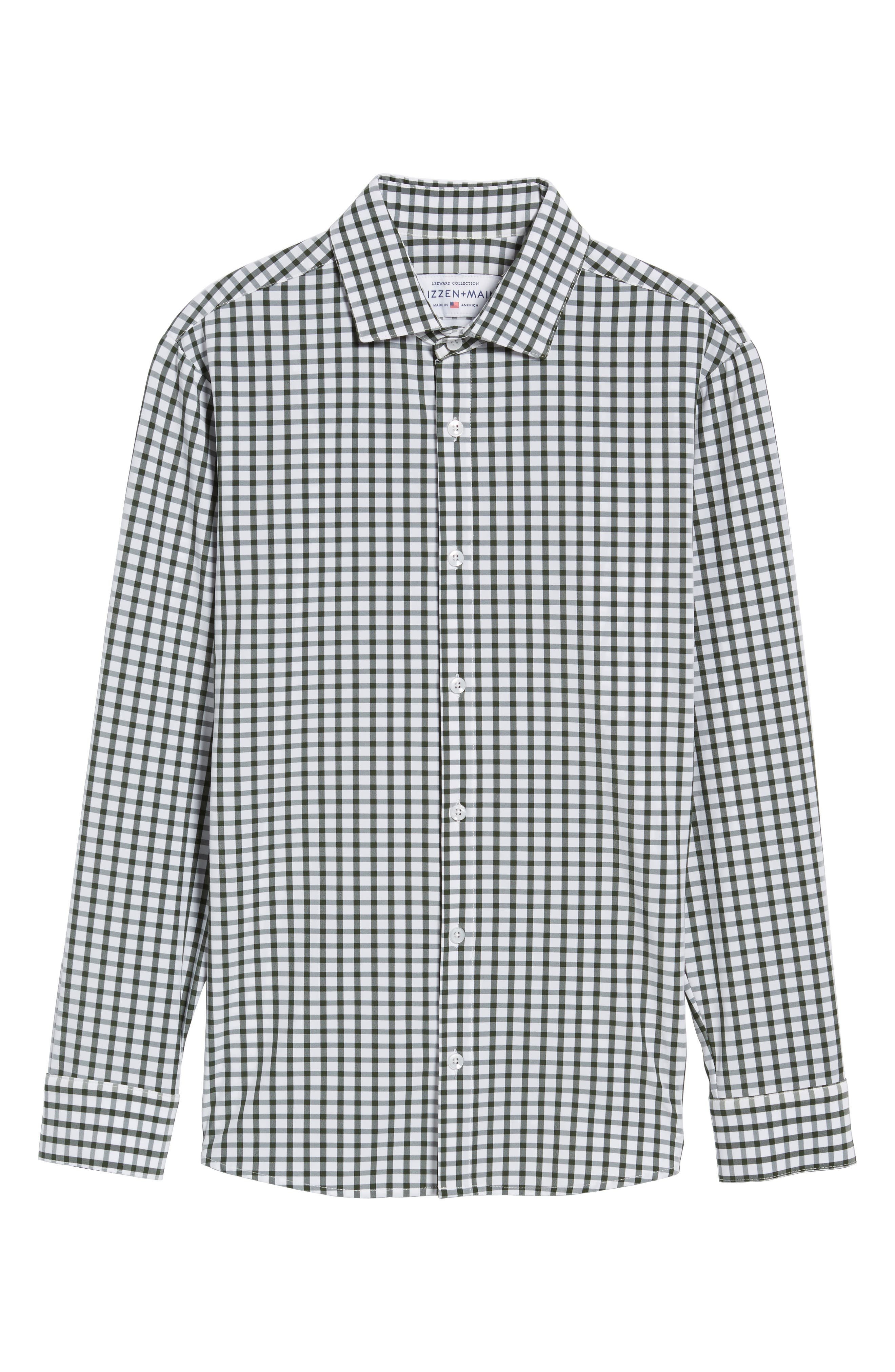 Turner Green Gingham Sport Shirt,                             Alternate thumbnail 6, color,                             Green