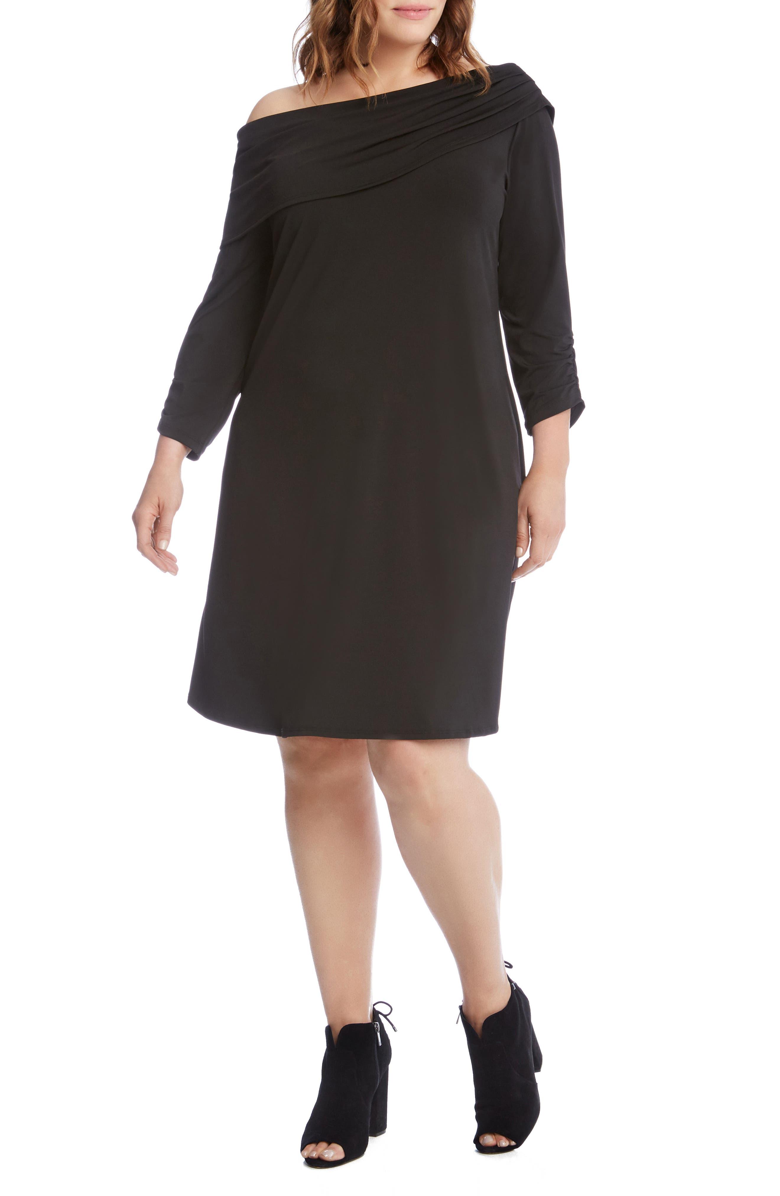 Alternate Image 4  - Karen Kane Draped Boat Neck Dress (Plus Size)