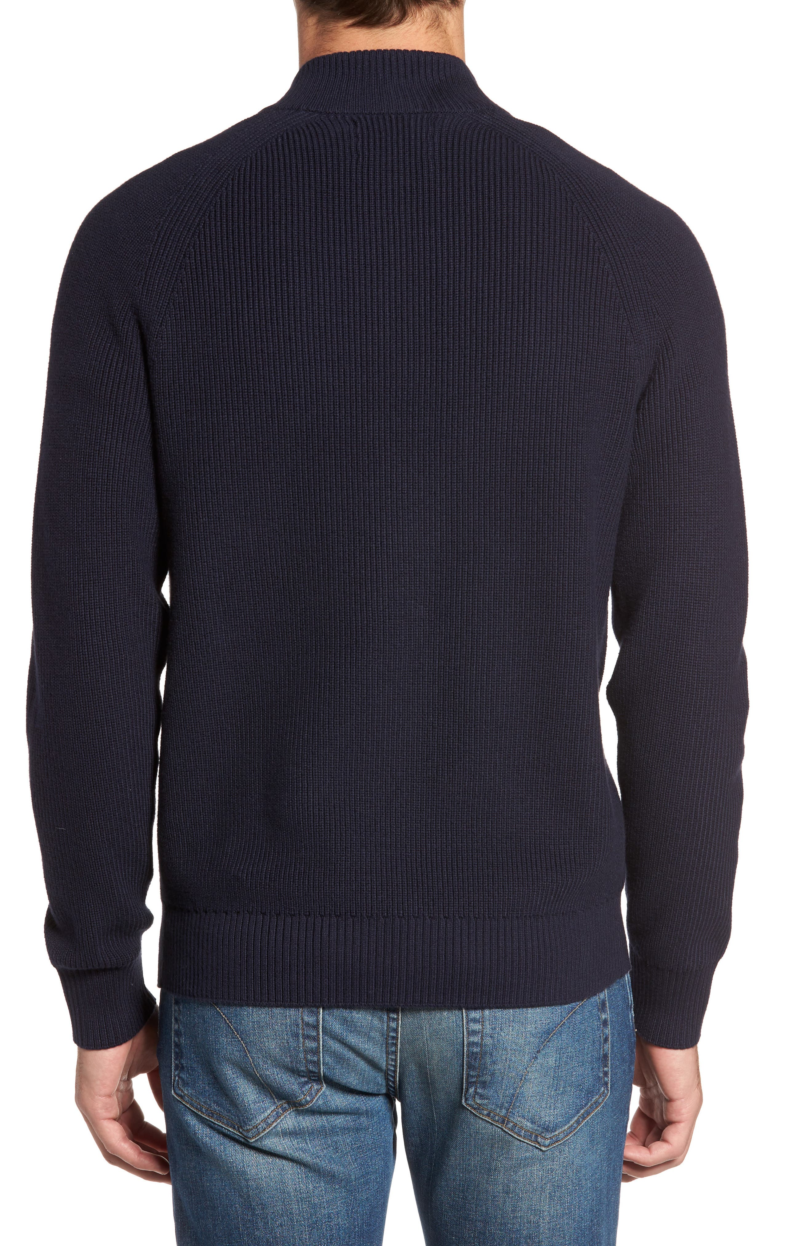 Ribbed Quarter Zip Sweater,                             Alternate thumbnail 2, color,                             Navy Night