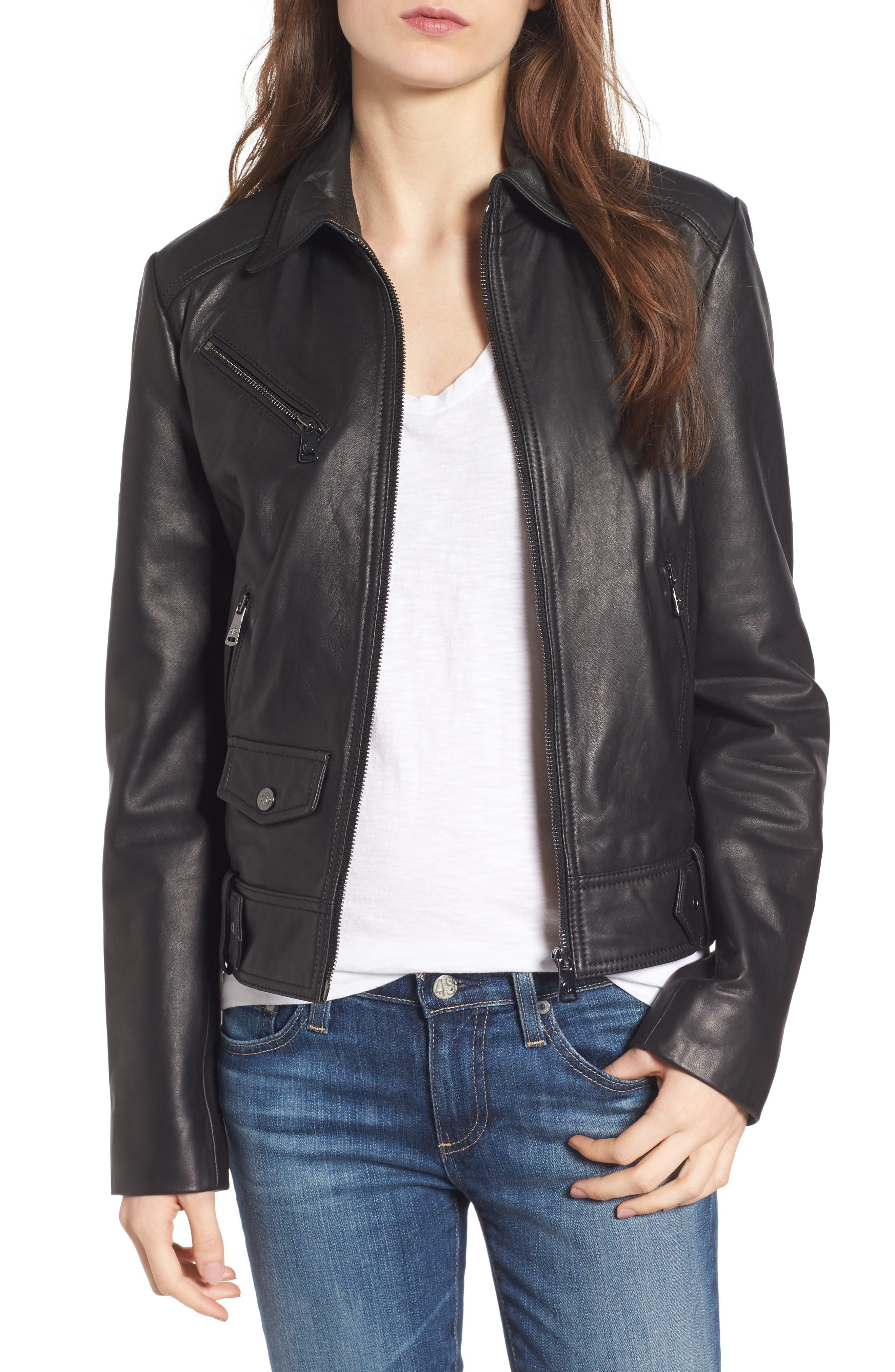 Front Zip Leather Moto Jacket,                             Main thumbnail 1, color,                             Black