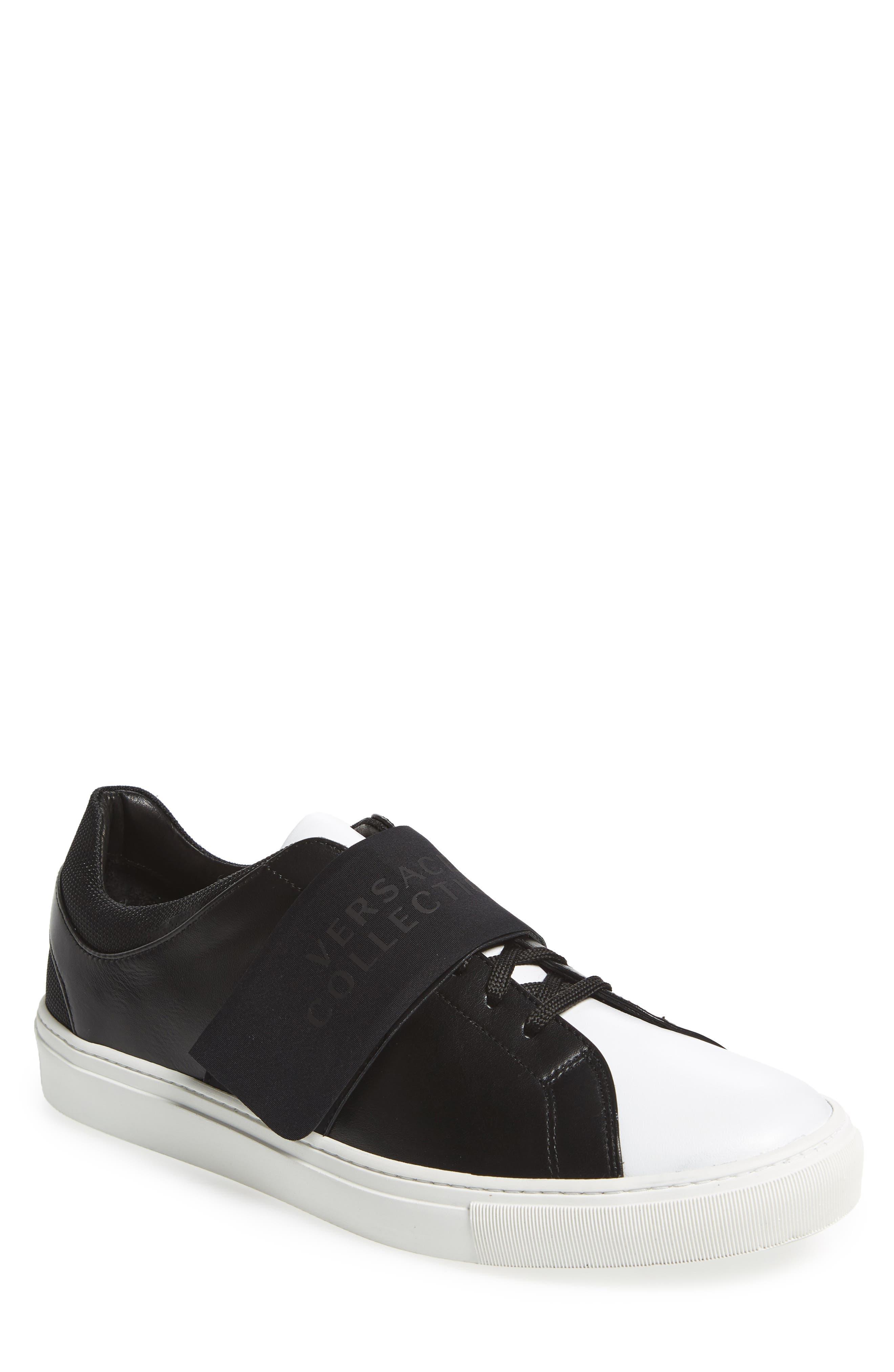 Strap Sneaker,                         Main,                         color, Bianco/ Nero Leather