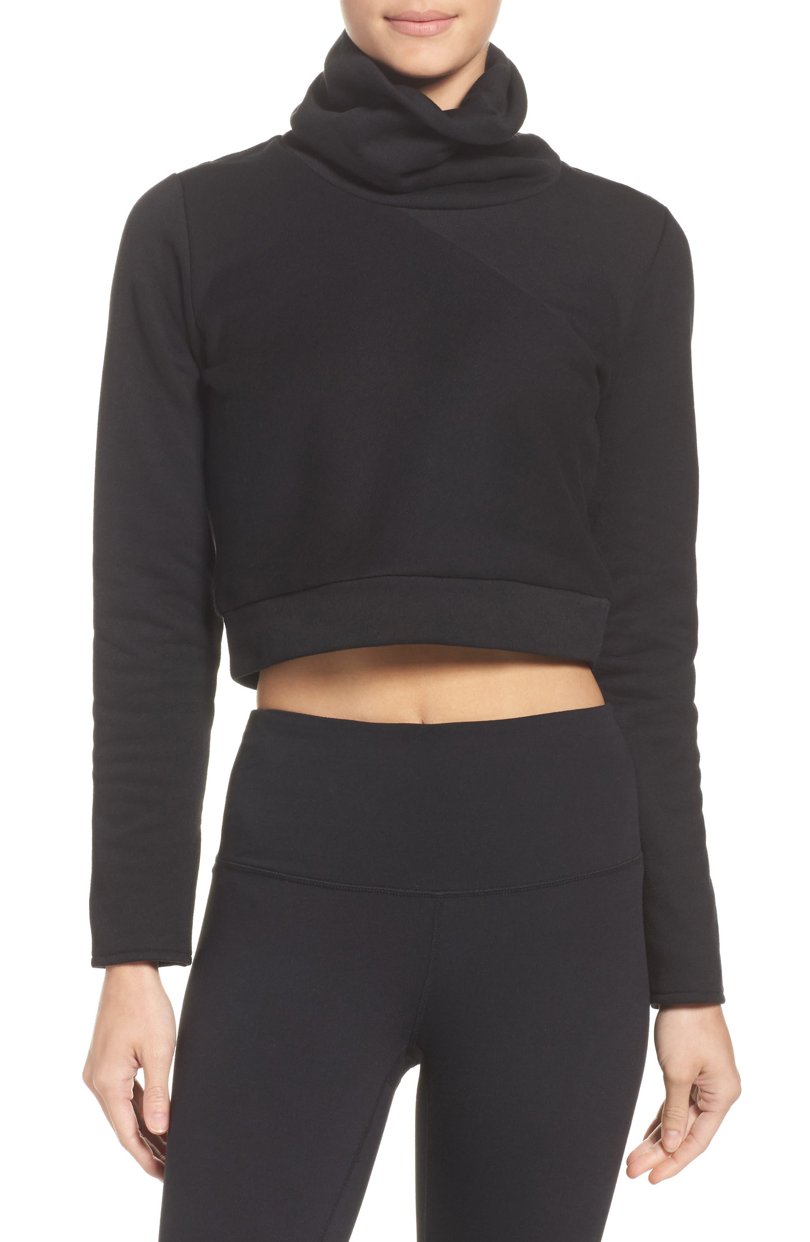 Soleil Funnel Neck Crop Pullover,                         Main,                         color, Black