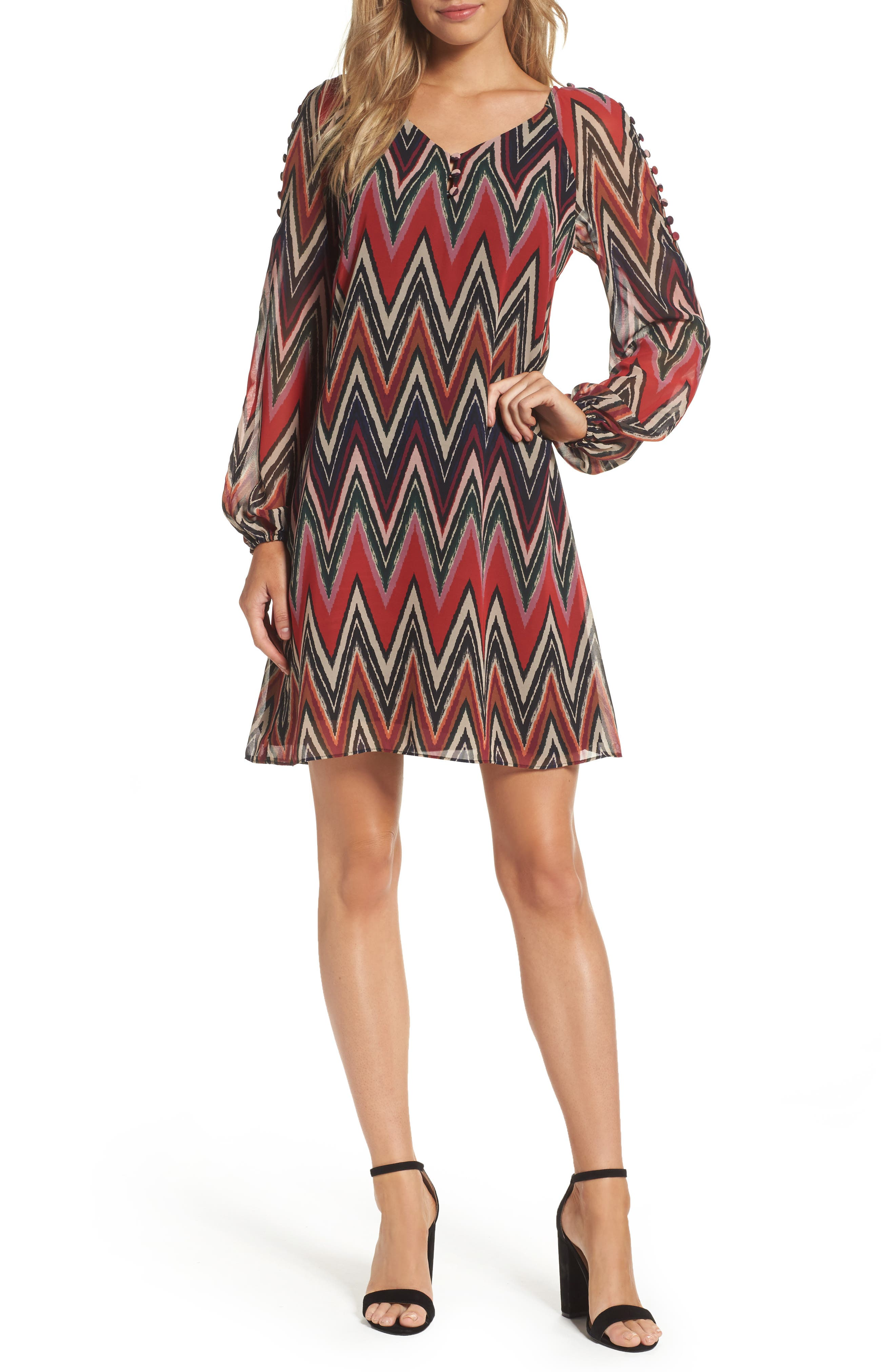 Chevron Swing Dress,                             Main thumbnail 1, color,                             Red/ Black