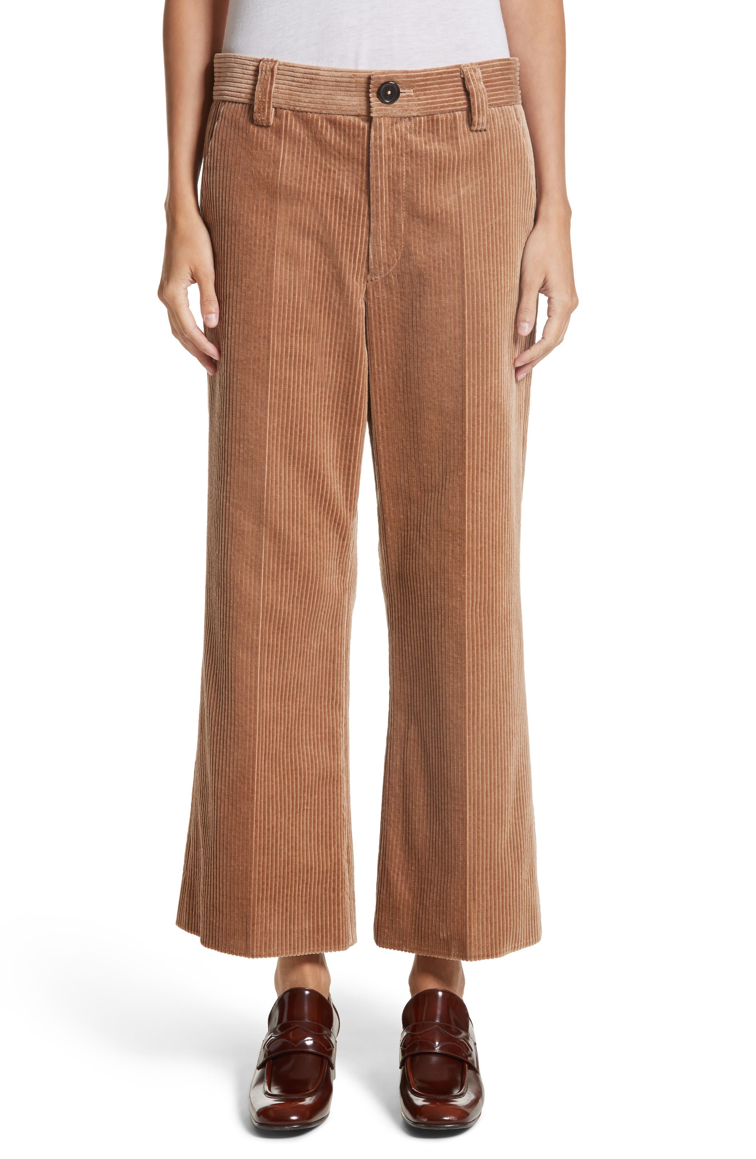 Corduroy Wide Leg Crop Pants,                             Main thumbnail 1, color,                             Sand
