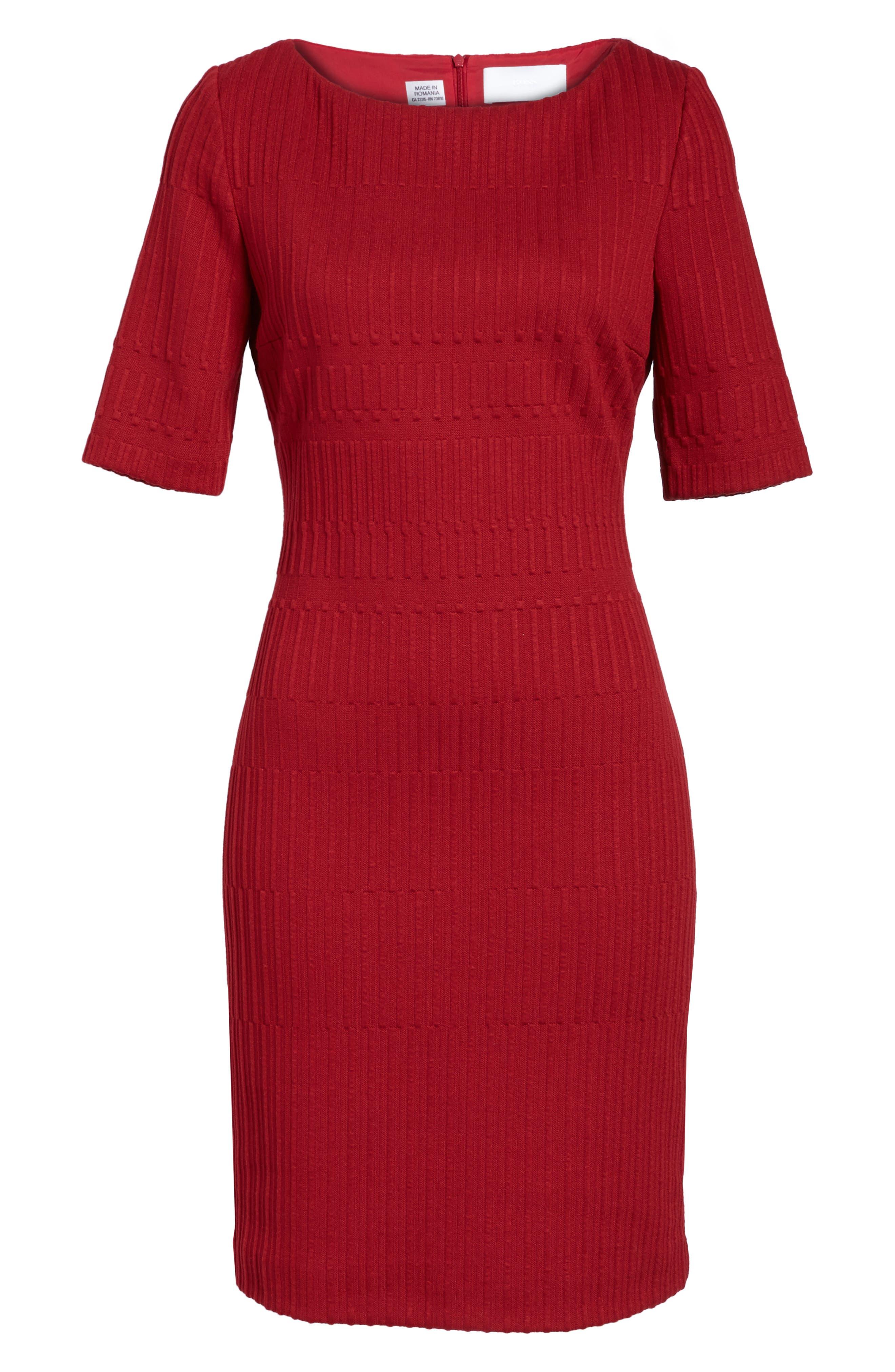 Hadea Knit Sheath Dress,                             Alternate thumbnail 6, color,                             Pomegranate
