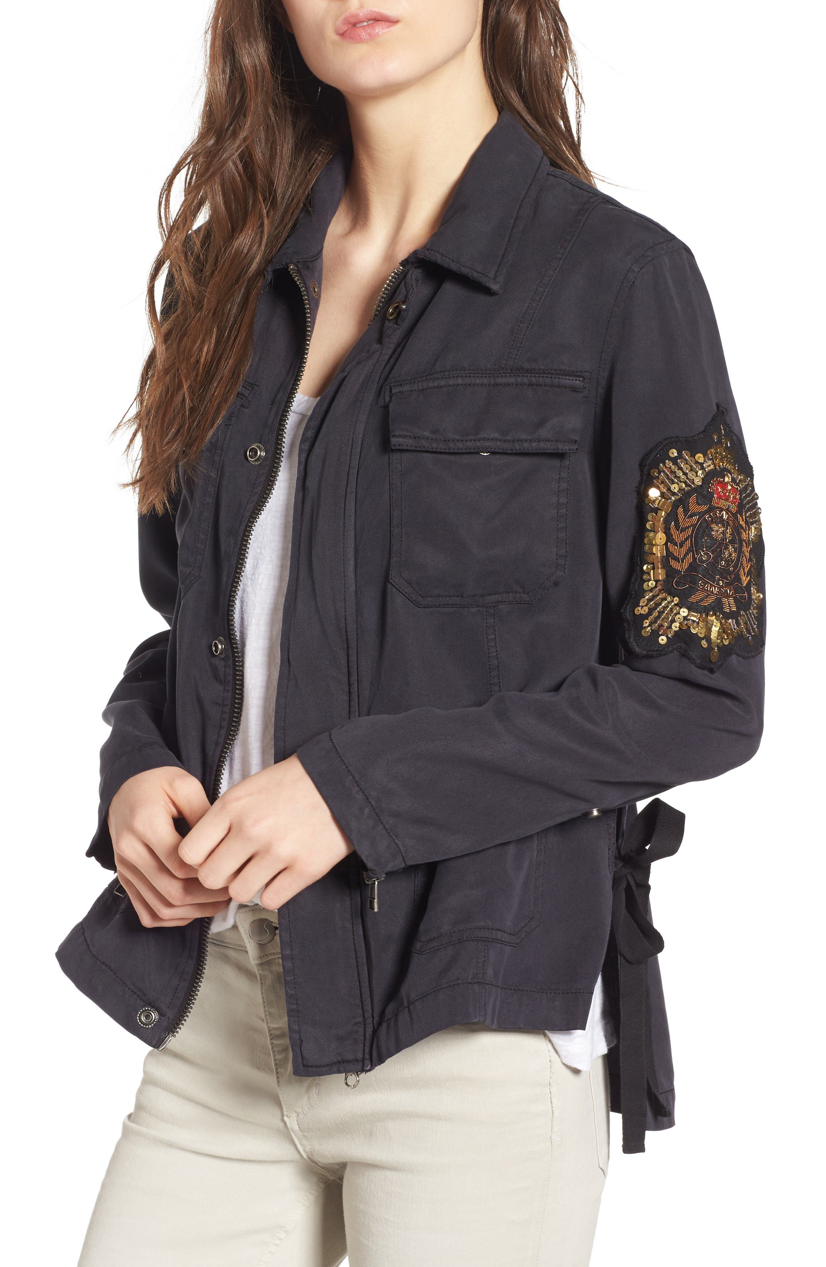 Cargo Jacket with Crest Patch,                         Main,                         color, Washed Black