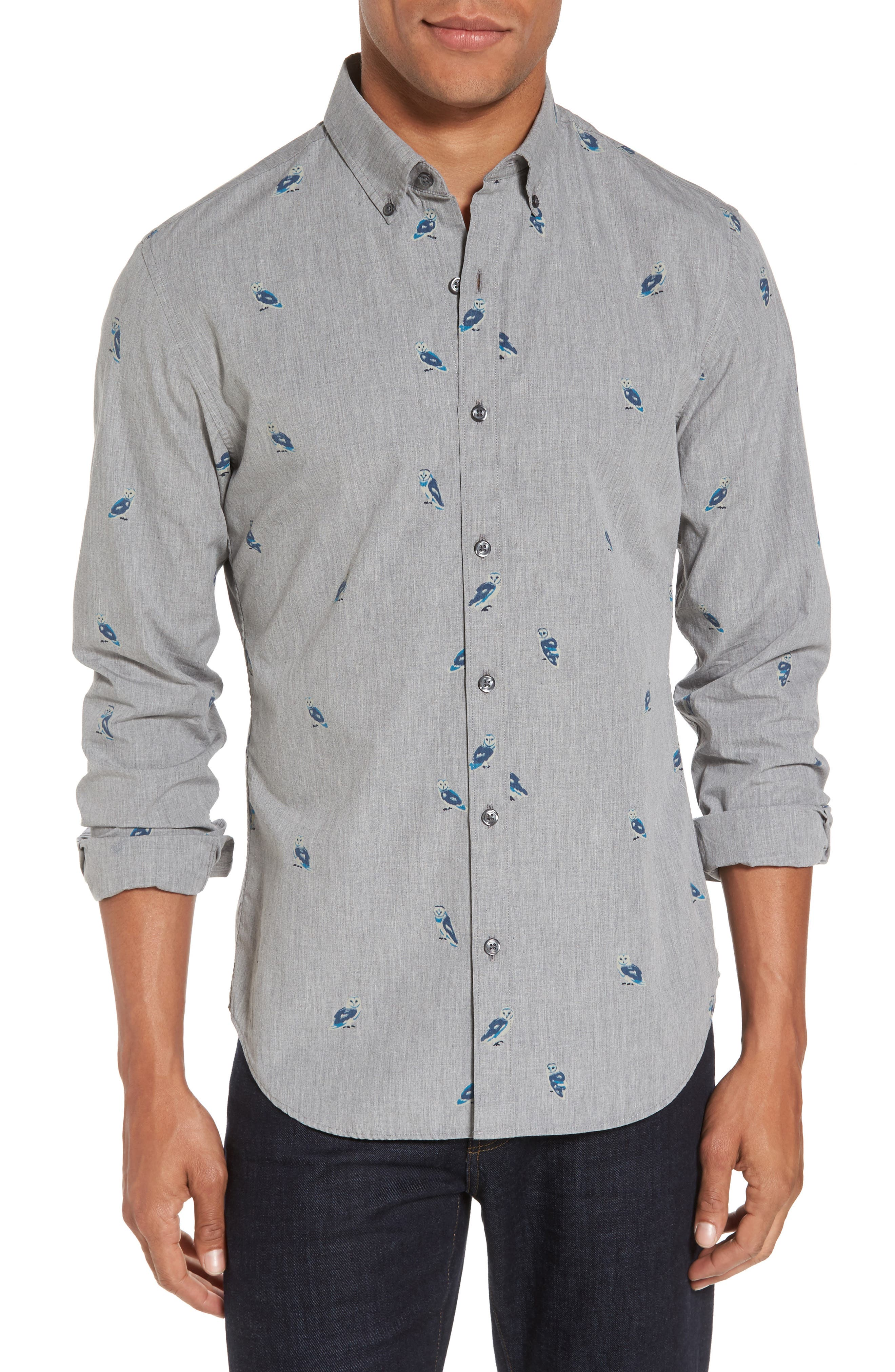 Slim Fit Owl Print Sport Shirt,                             Main thumbnail 1, color,                             Heather Grey Owl Print