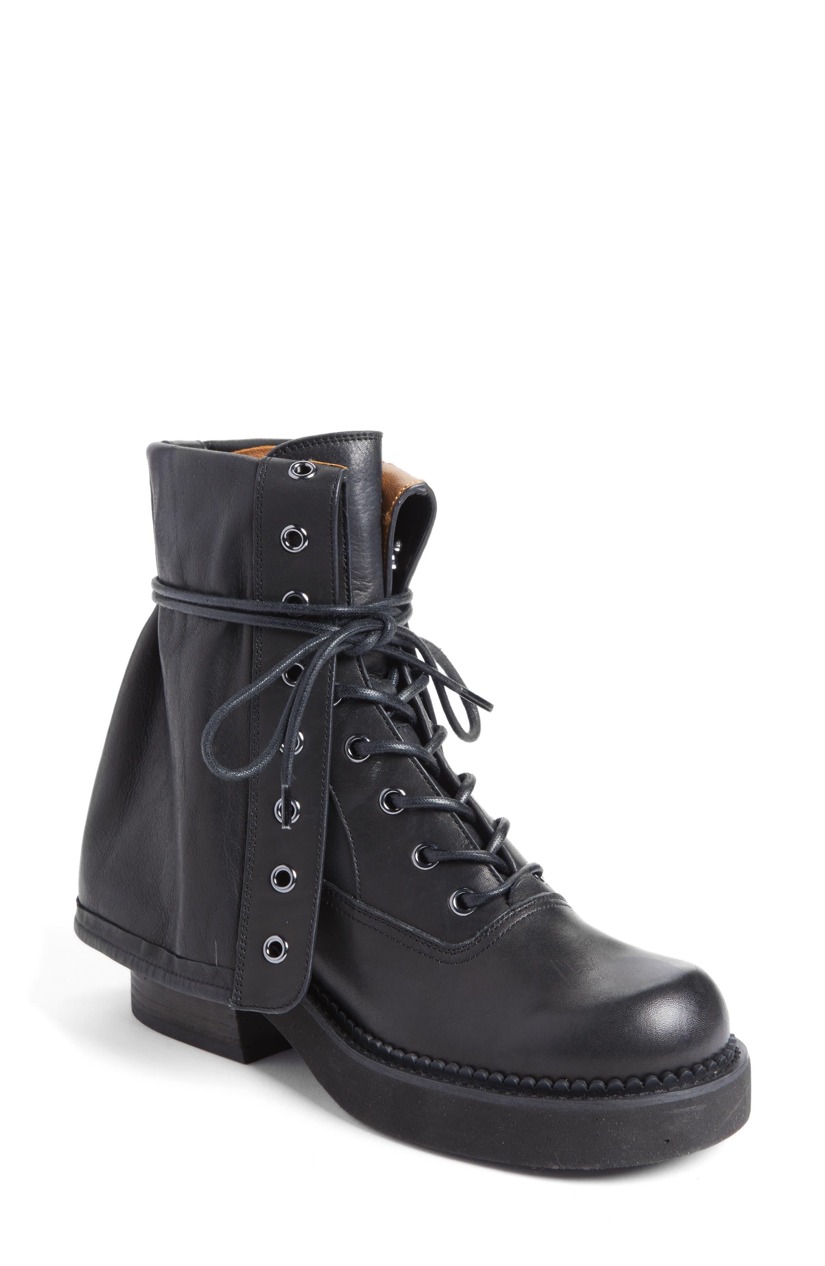 See by Chloe Katerina Foldover Combat Boot,                             Main thumbnail 1, color,                             Black