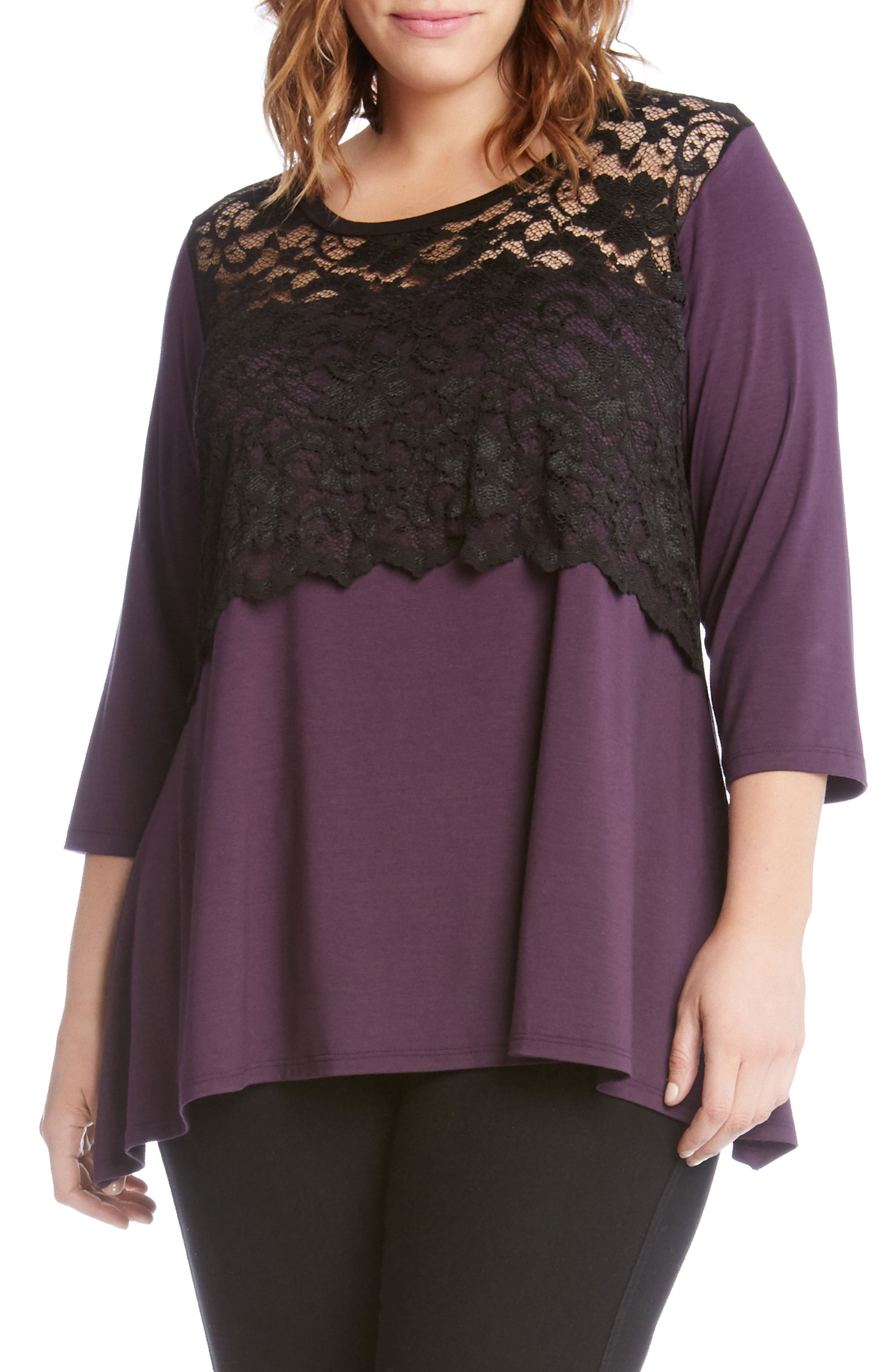 Lace Overlay Handkerchief Hem Top,                         Main,                         color, Eggplant
