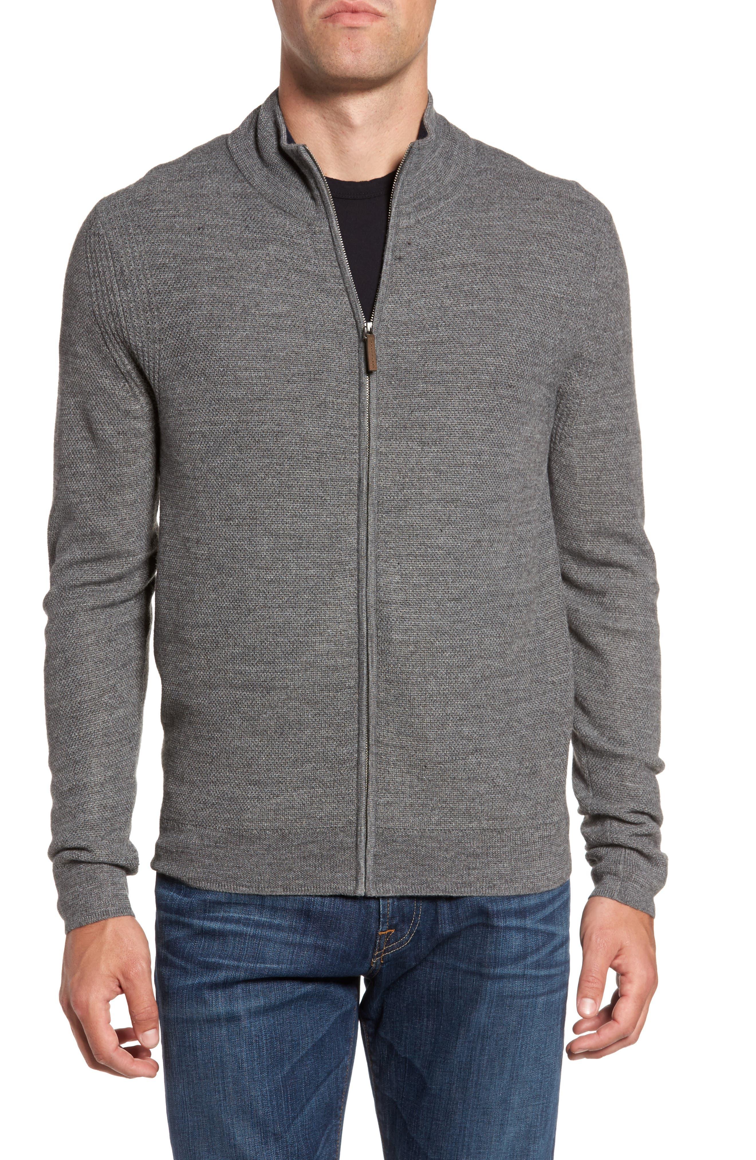 Honeycomb Zip Front Cardigan,                         Main,                         color, Grey Heather