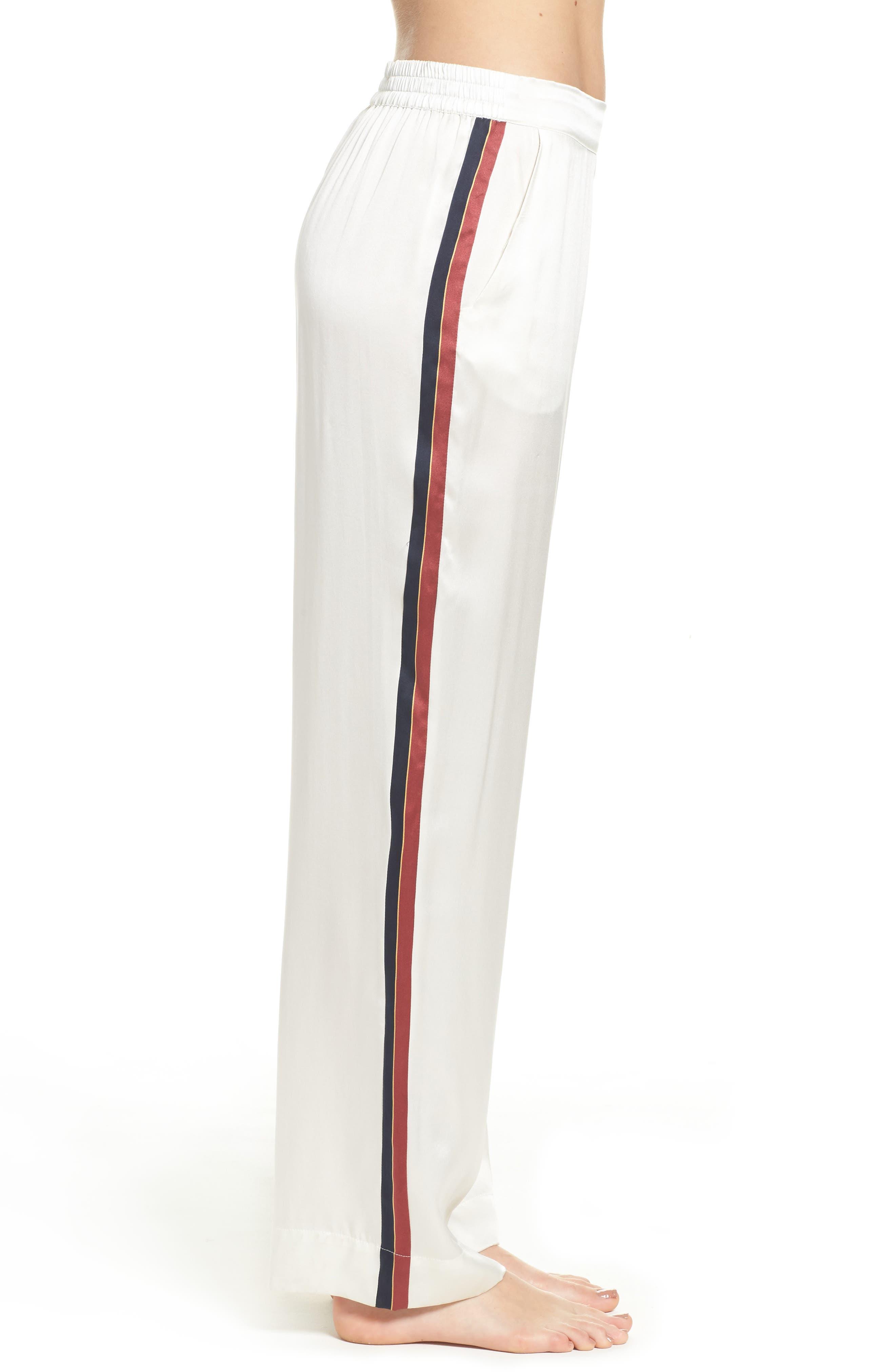 Alternate Image 3  - Asceno by Beautiful Bottoms Side Stripe Silk Pajama Pants