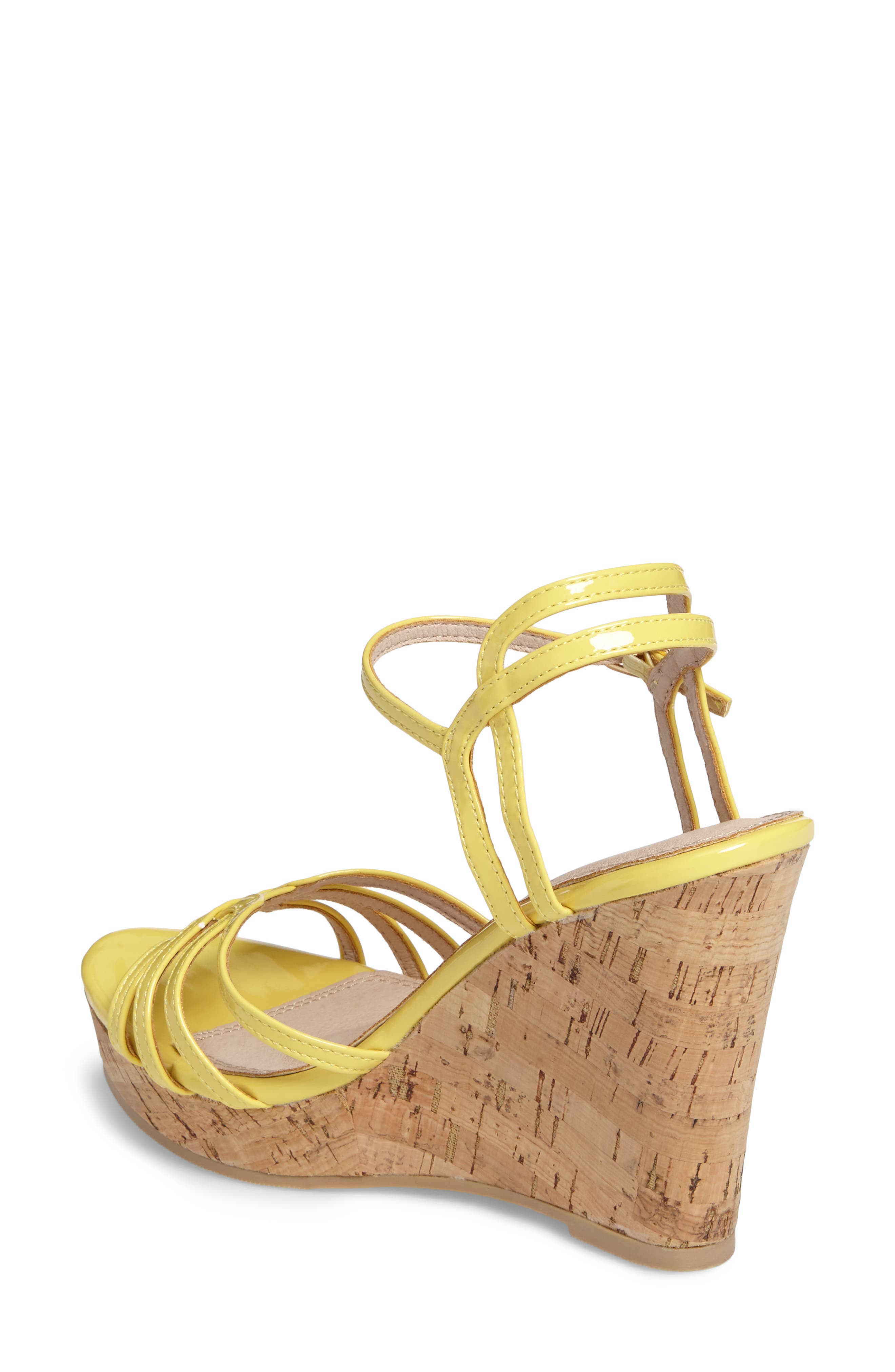 Oasis Platform Wedge Sandal,                             Alternate thumbnail 2, color,                             Yellow Synthetic