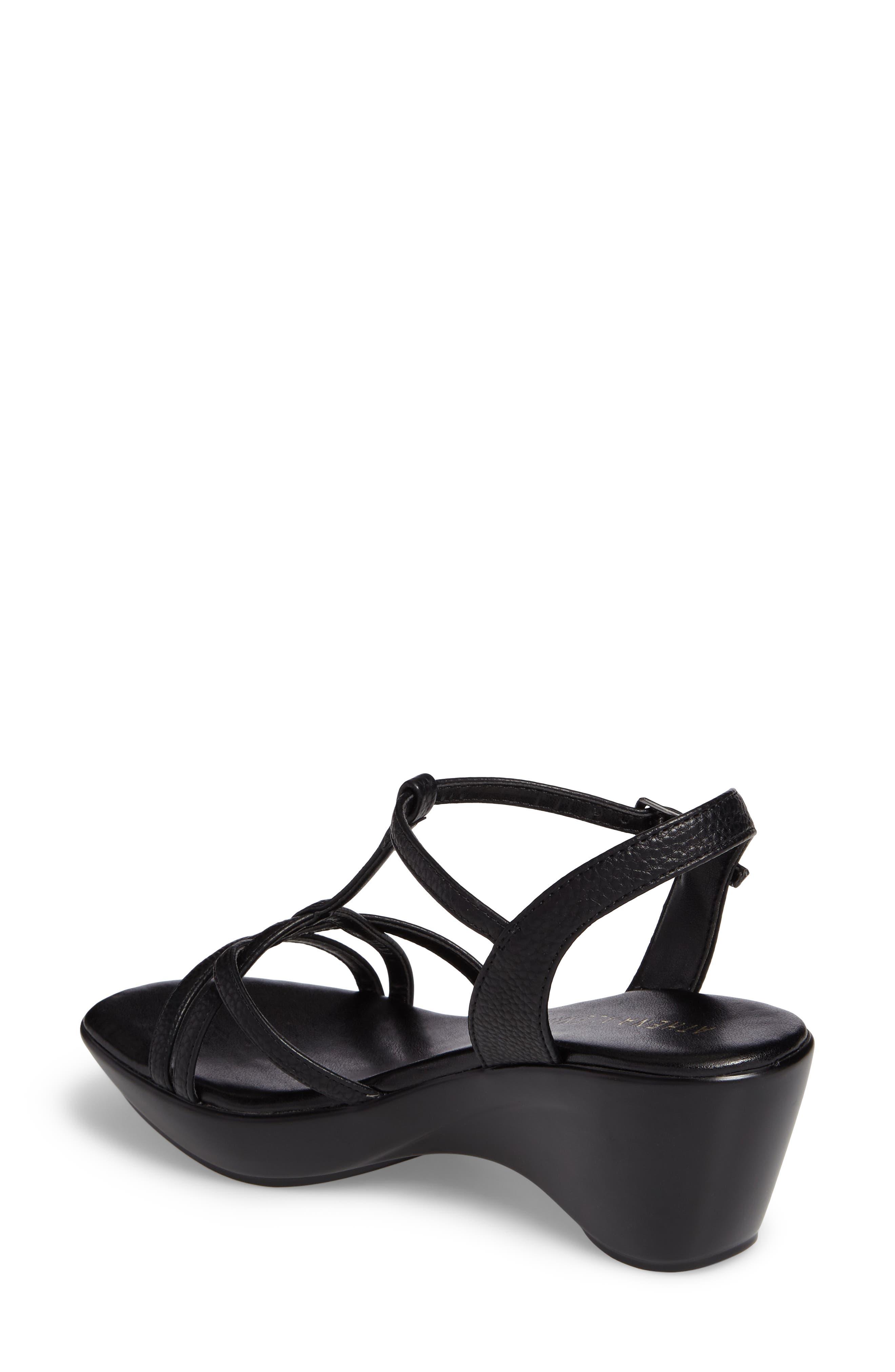 Cassort T-Strap Sandal,                             Alternate thumbnail 2, color,                             Black Faux Leather