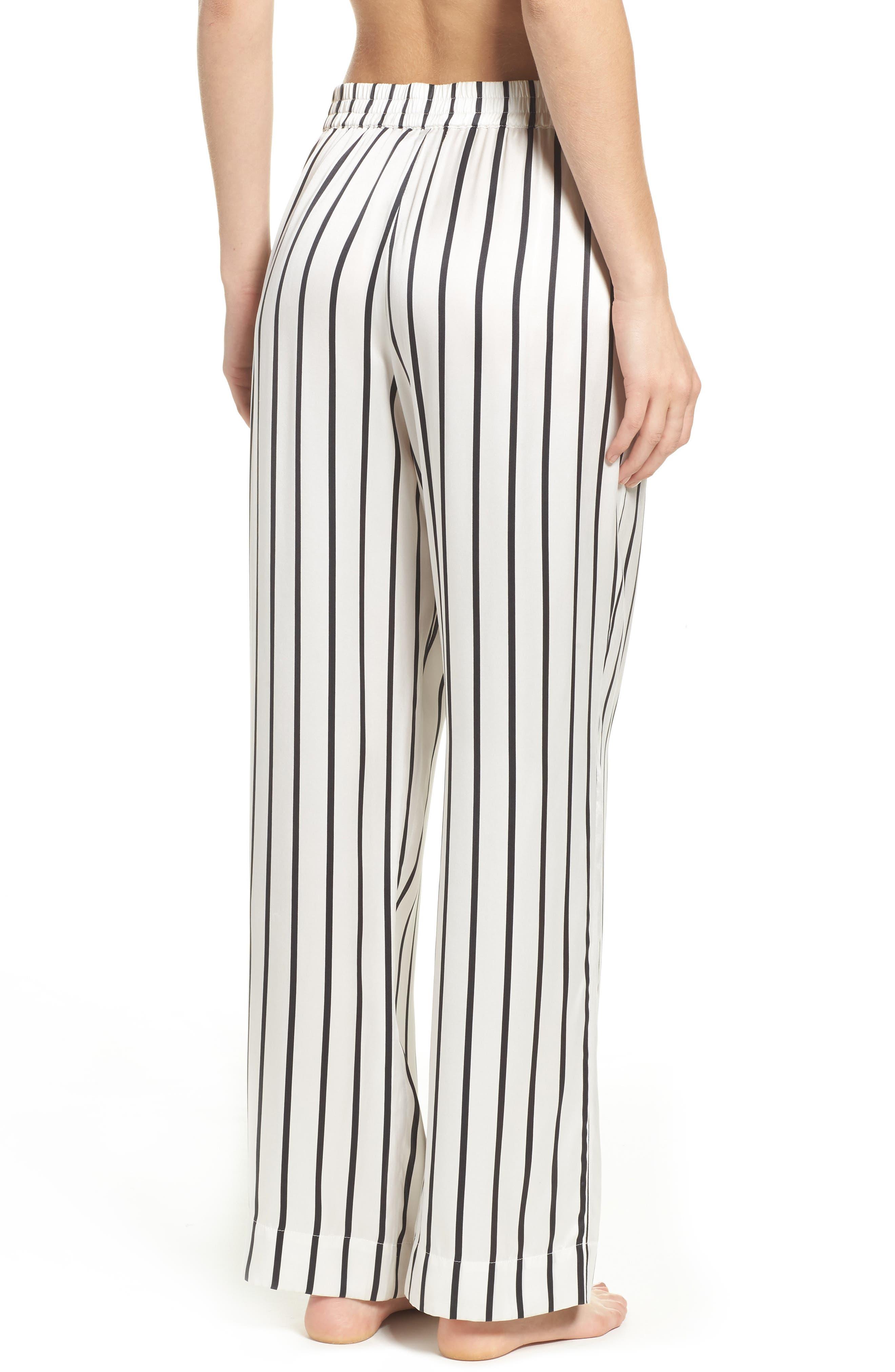 Stripe Silk Pajama Pants,                             Alternate thumbnail 2, color,                             Jet Black Stripe