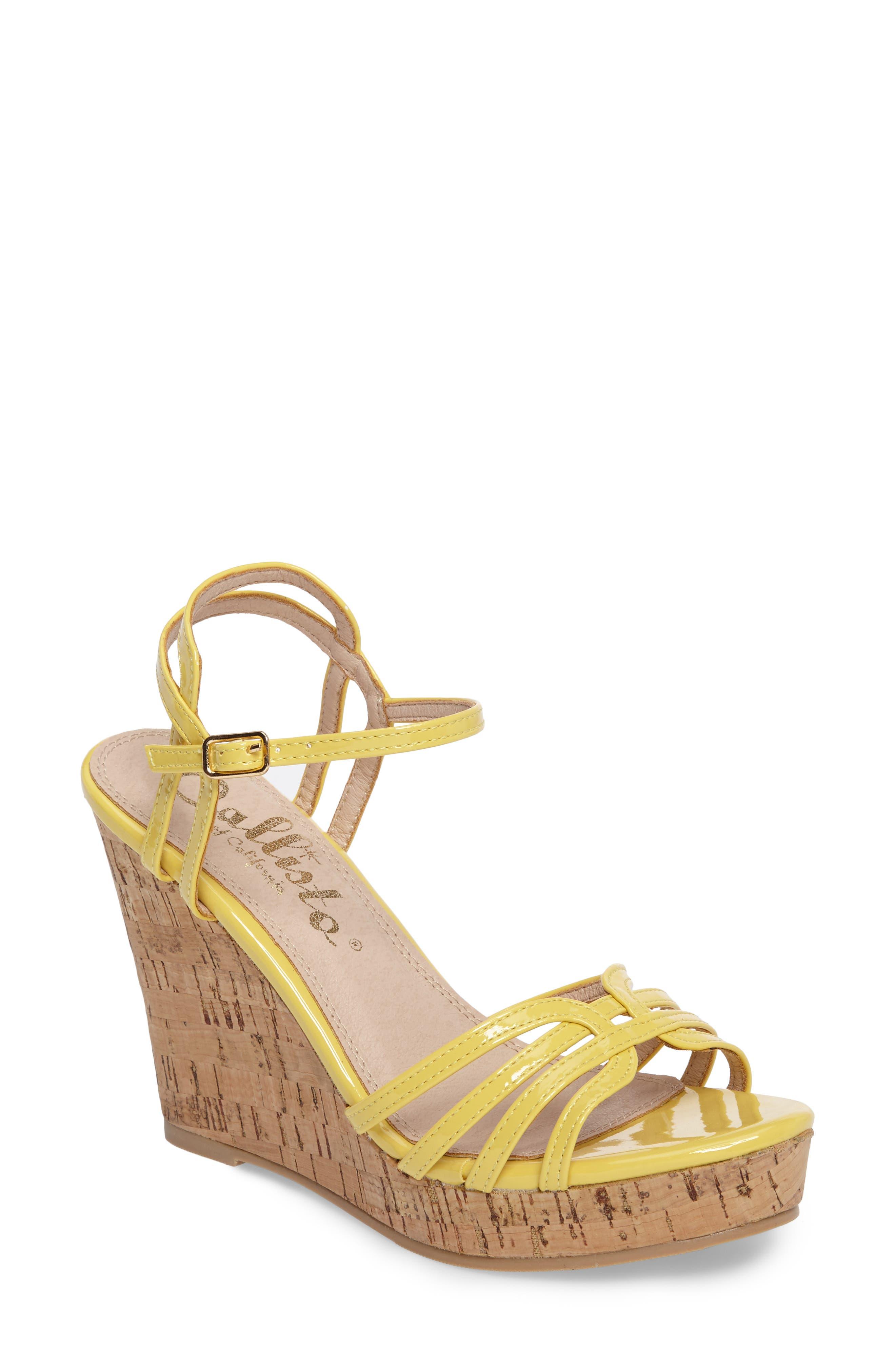 Oasis Platform Wedge Sandal,                             Main thumbnail 1, color,                             Yellow Synthetic