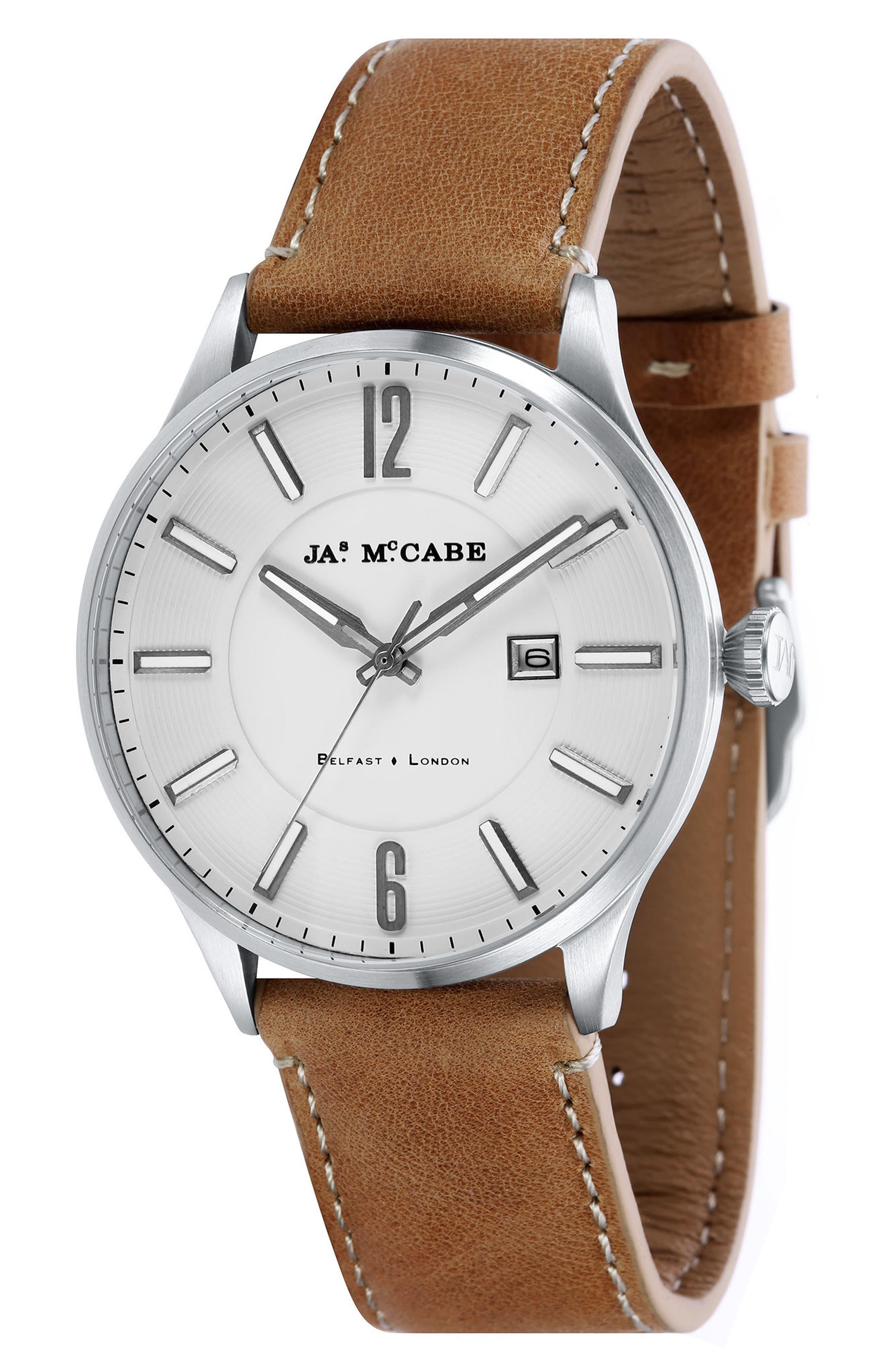 James McCabe New Belfast Slim Leather Strap Watch, 43mm