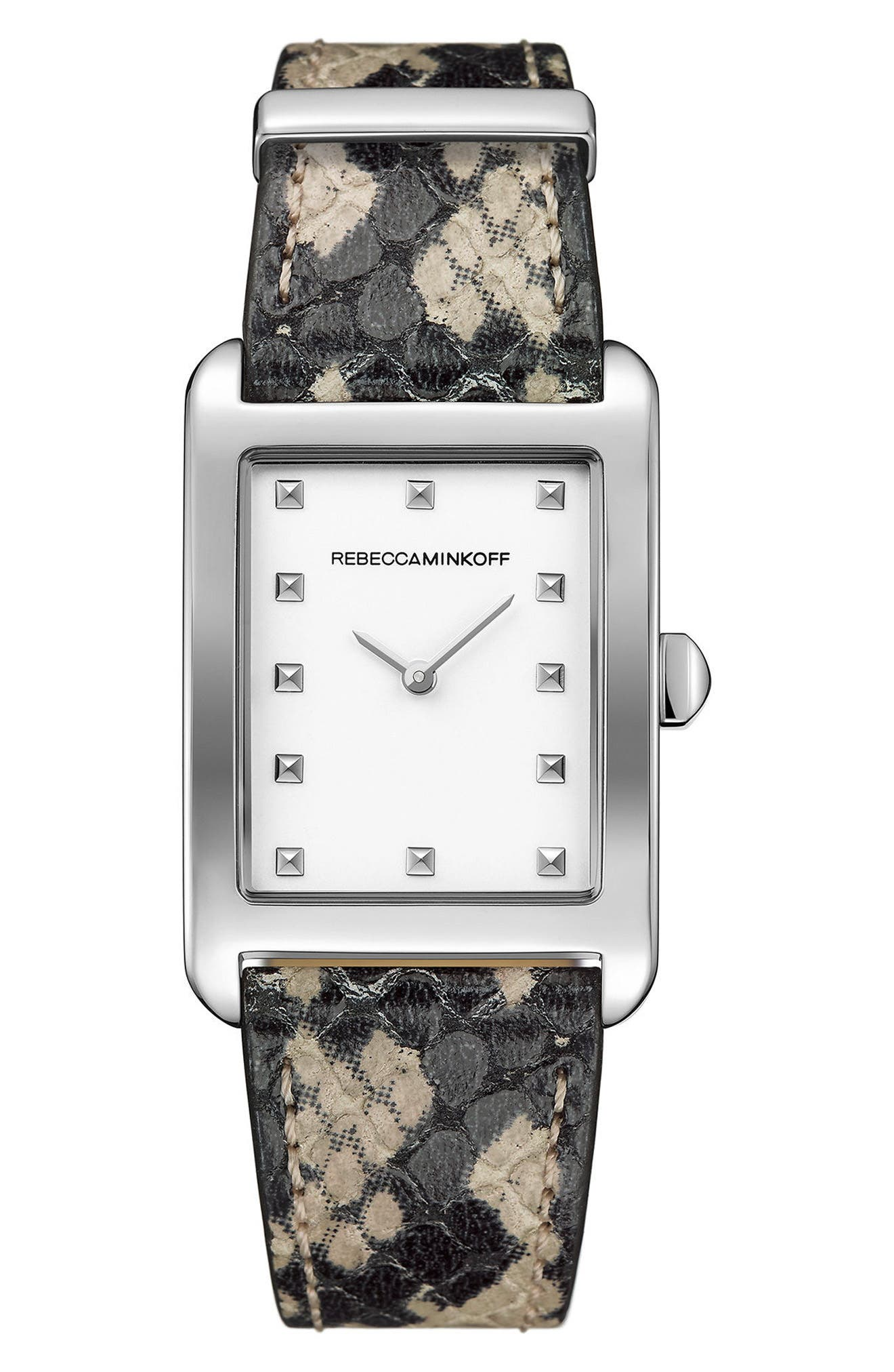 Moment Leather Strap Watch, 27mm x 39mm,                         Main,                         color, Python/ White/ Silver