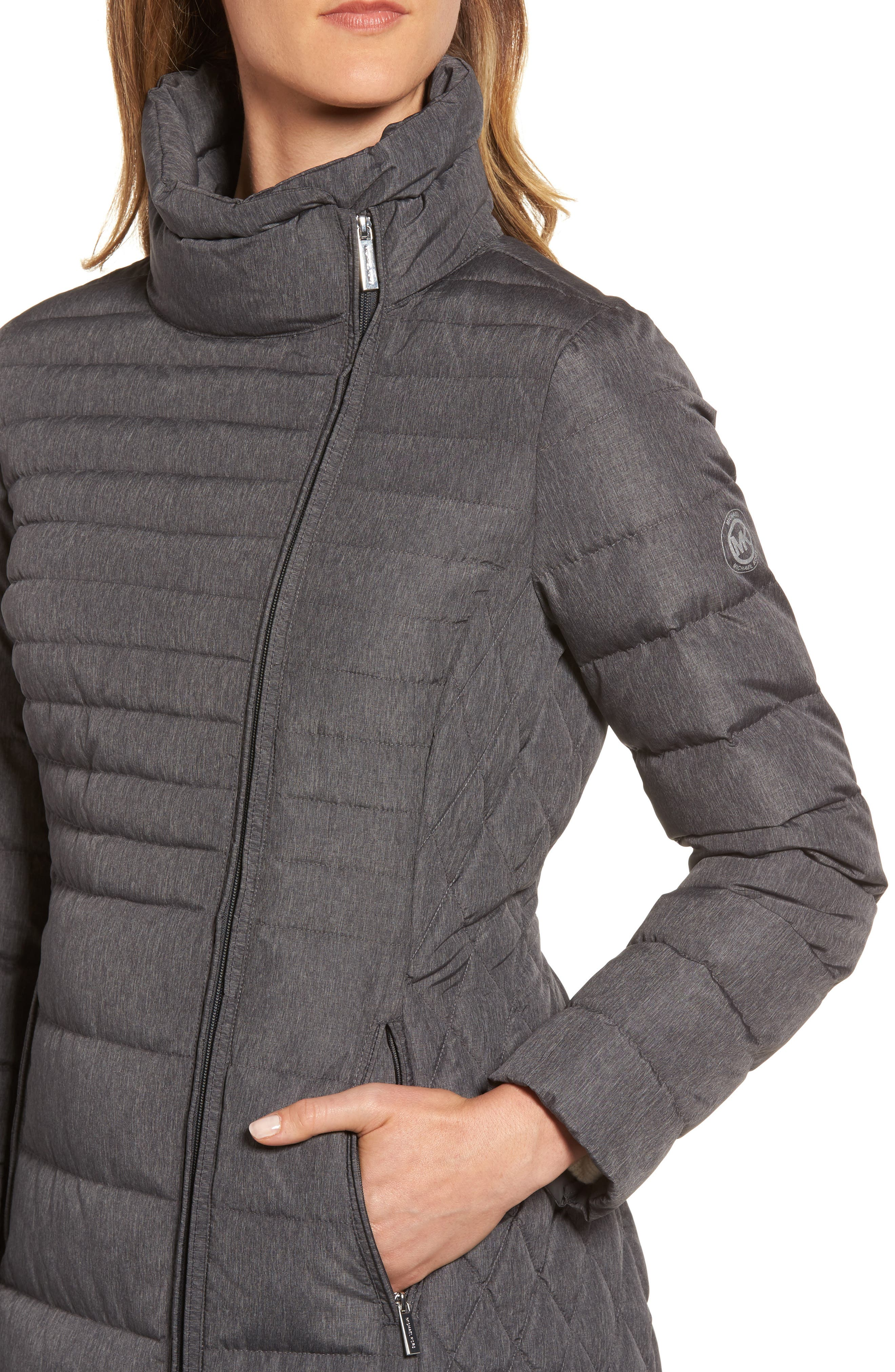 Water Repellent Packable Puffer Coat,                             Alternate thumbnail 4, color,                             Charcoal