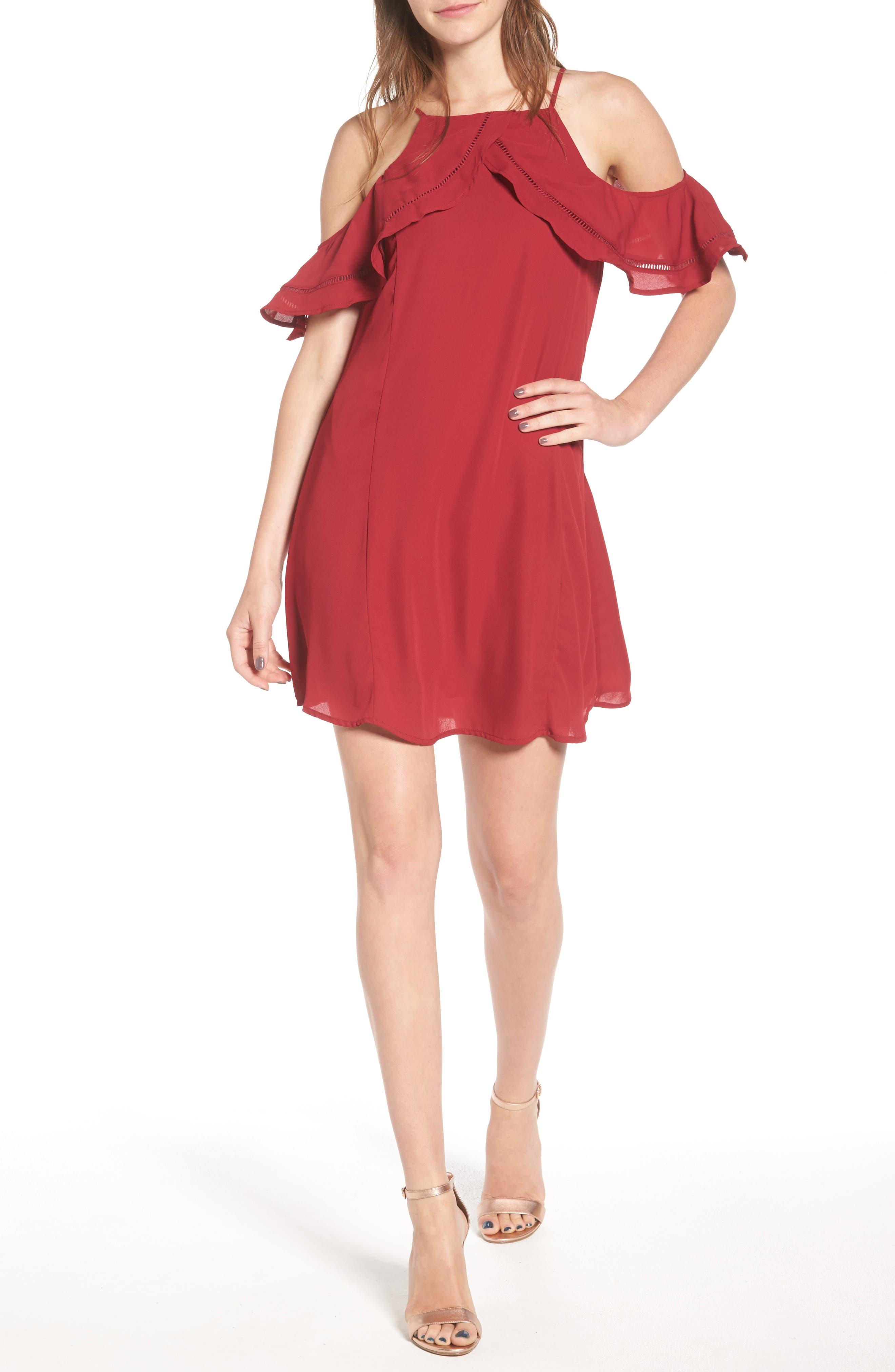 DEE ELLY Ruffle Cold Shoulder Dress