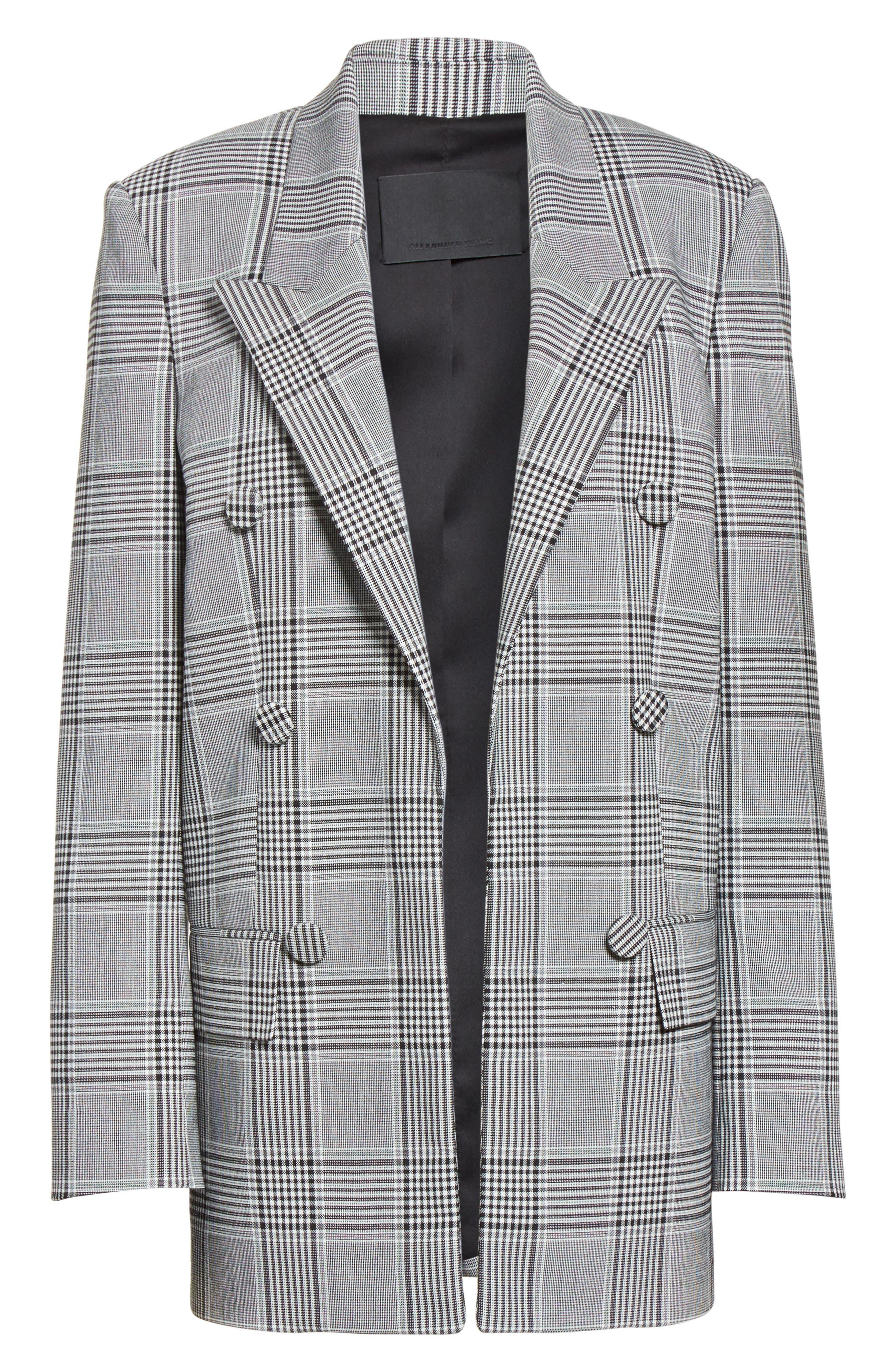 Leather Sleeve Check Blazer,                             Alternate thumbnail 7, color,                             Black/ White