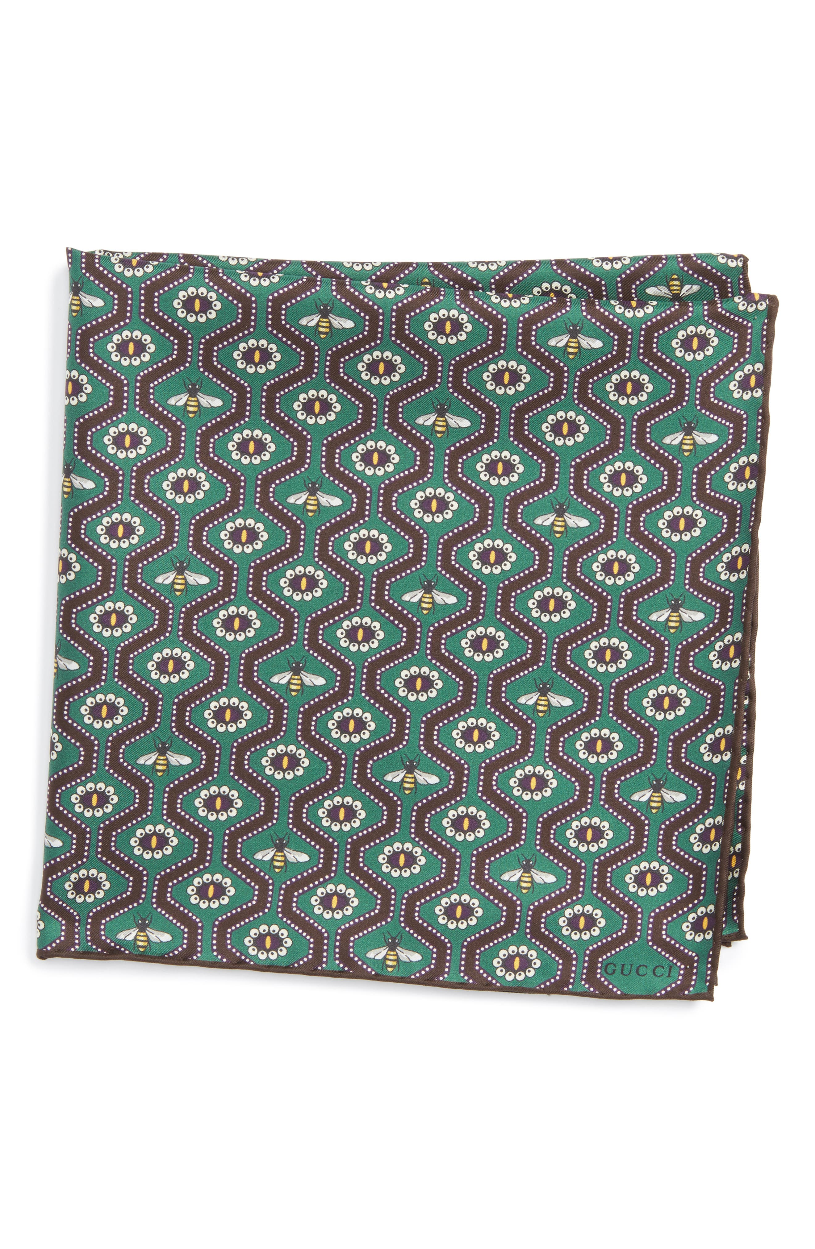 Pearl Bee Pocket Square,                         Main,                         color, Green