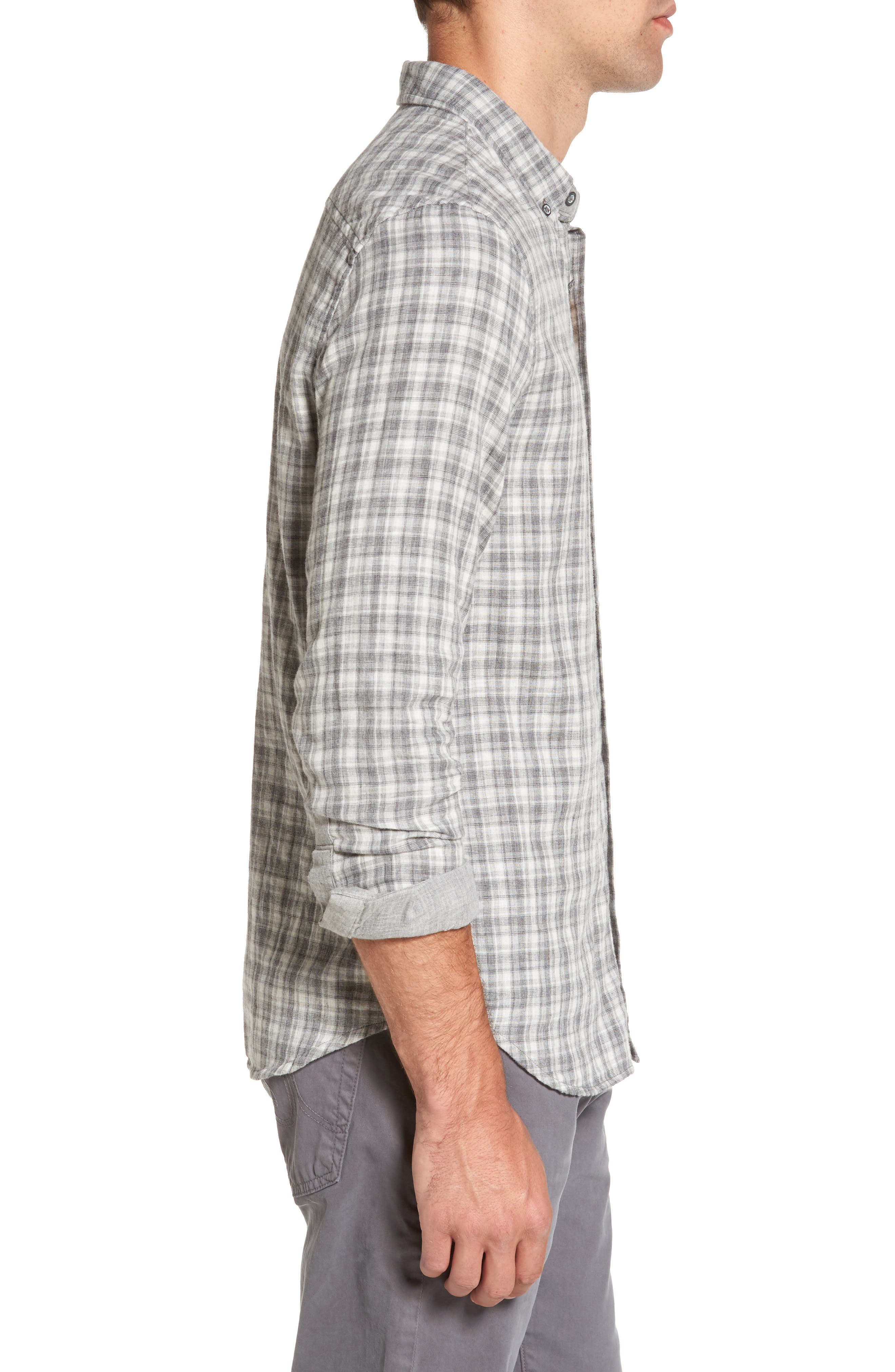 Grady Plaid Sport Shirt,                             Alternate thumbnail 3, color,                             Dlp Heather Grey/ White